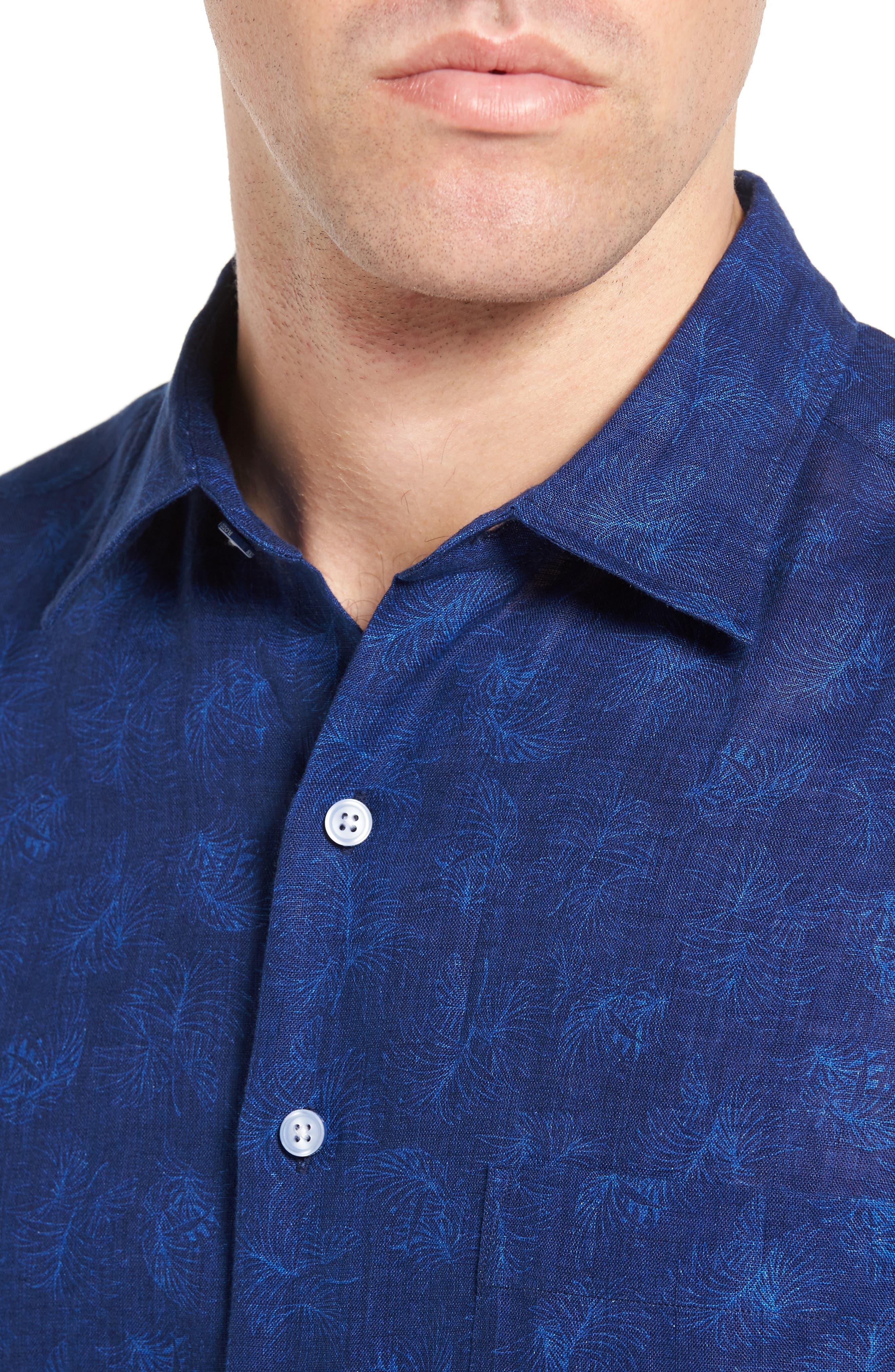 Hampton Downs Sports Fit Linen Sport Shirt,                             Alternate thumbnail 4, color,                             423