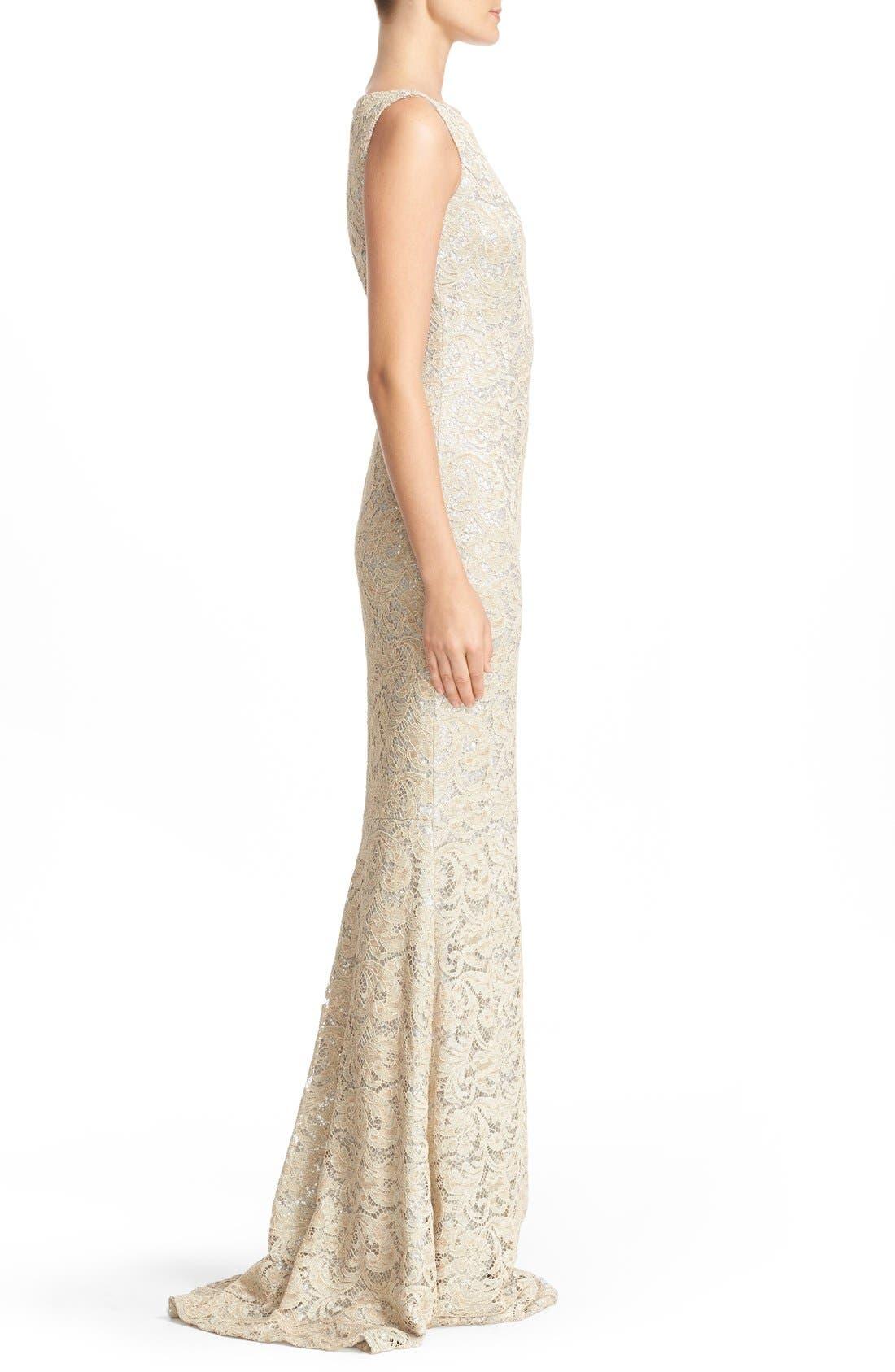 Sequin Lace Column Gown,                             Alternate thumbnail 4, color,                             SAND