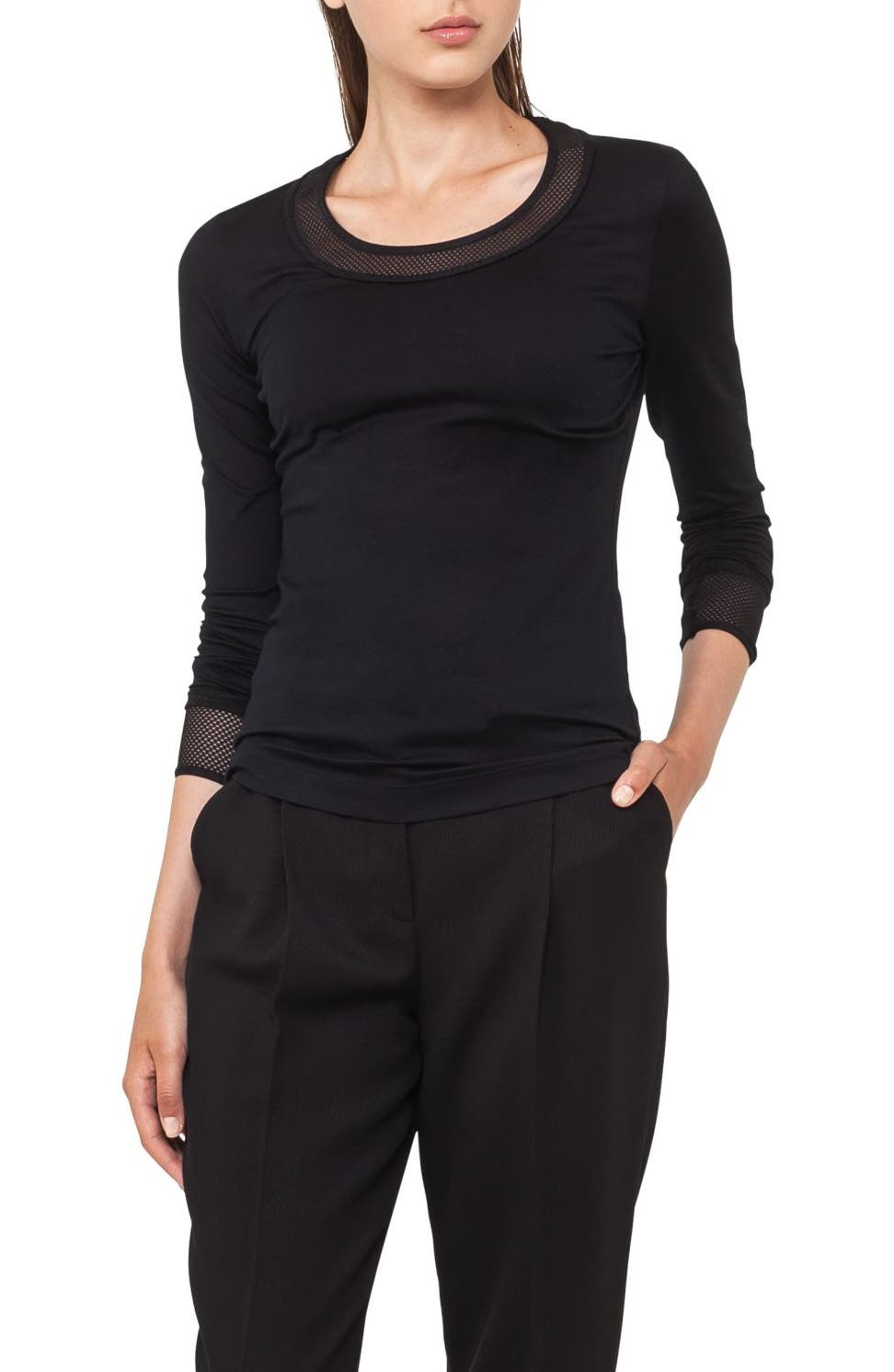 Mesh Detail Jersey Top,                             Alternate thumbnail 2, color,                             009