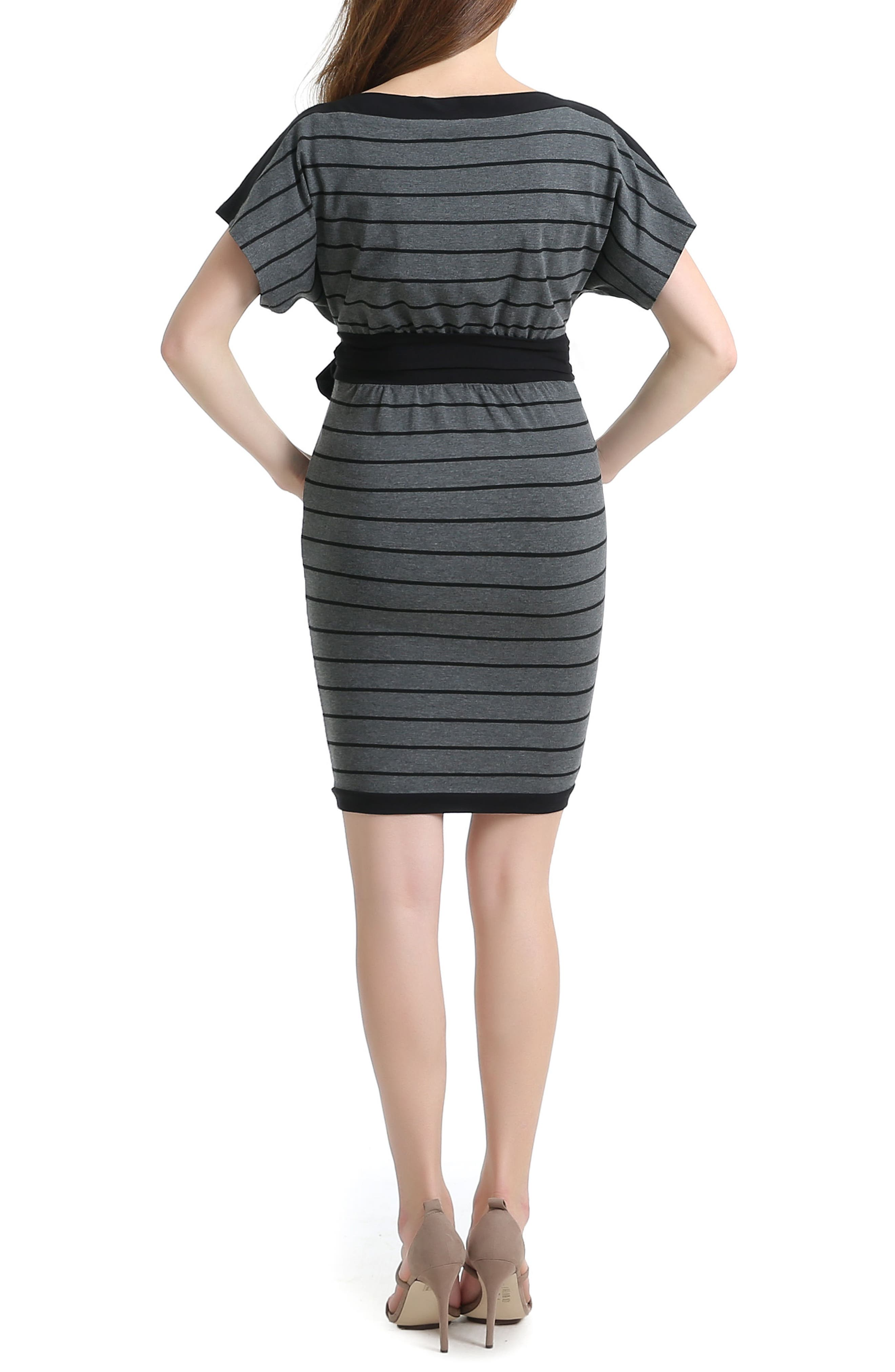 Anna Stretch Maternity Dress,                             Alternate thumbnail 2, color,                             BLACK/ GRAY