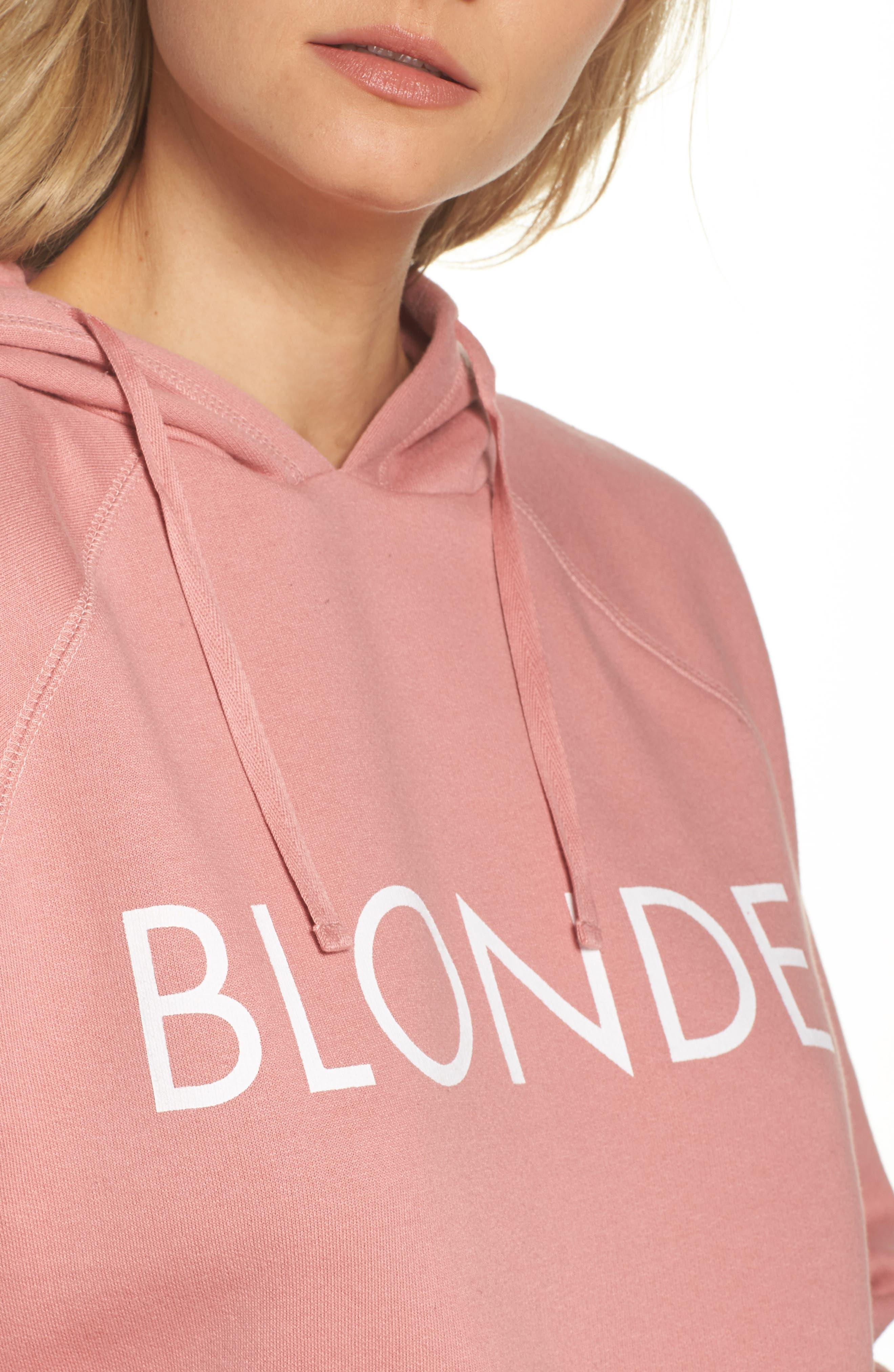 Blondie Raw Hem Hoodie,                             Alternate thumbnail 4, color,                             DUSTY ROSE