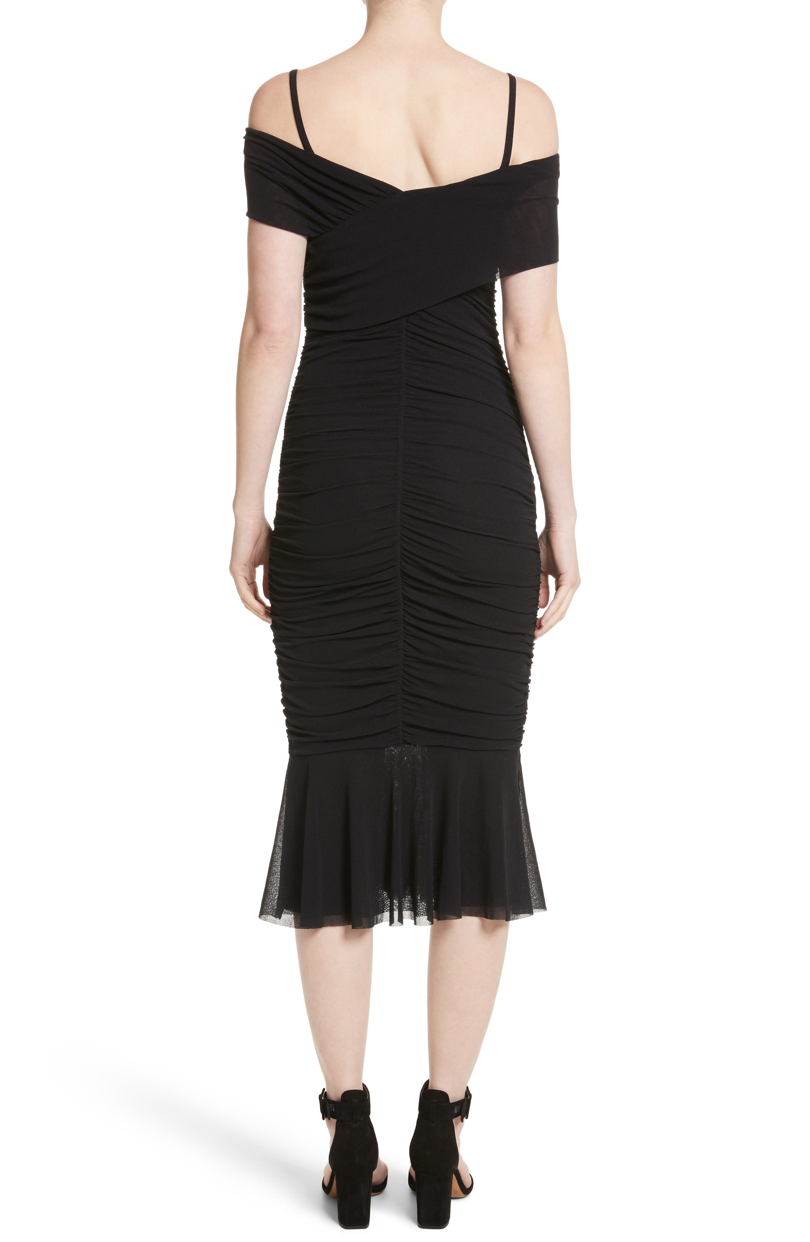 Ruched Tulle Cold Shoulder Dress,                             Alternate thumbnail 2, color,                             NERO