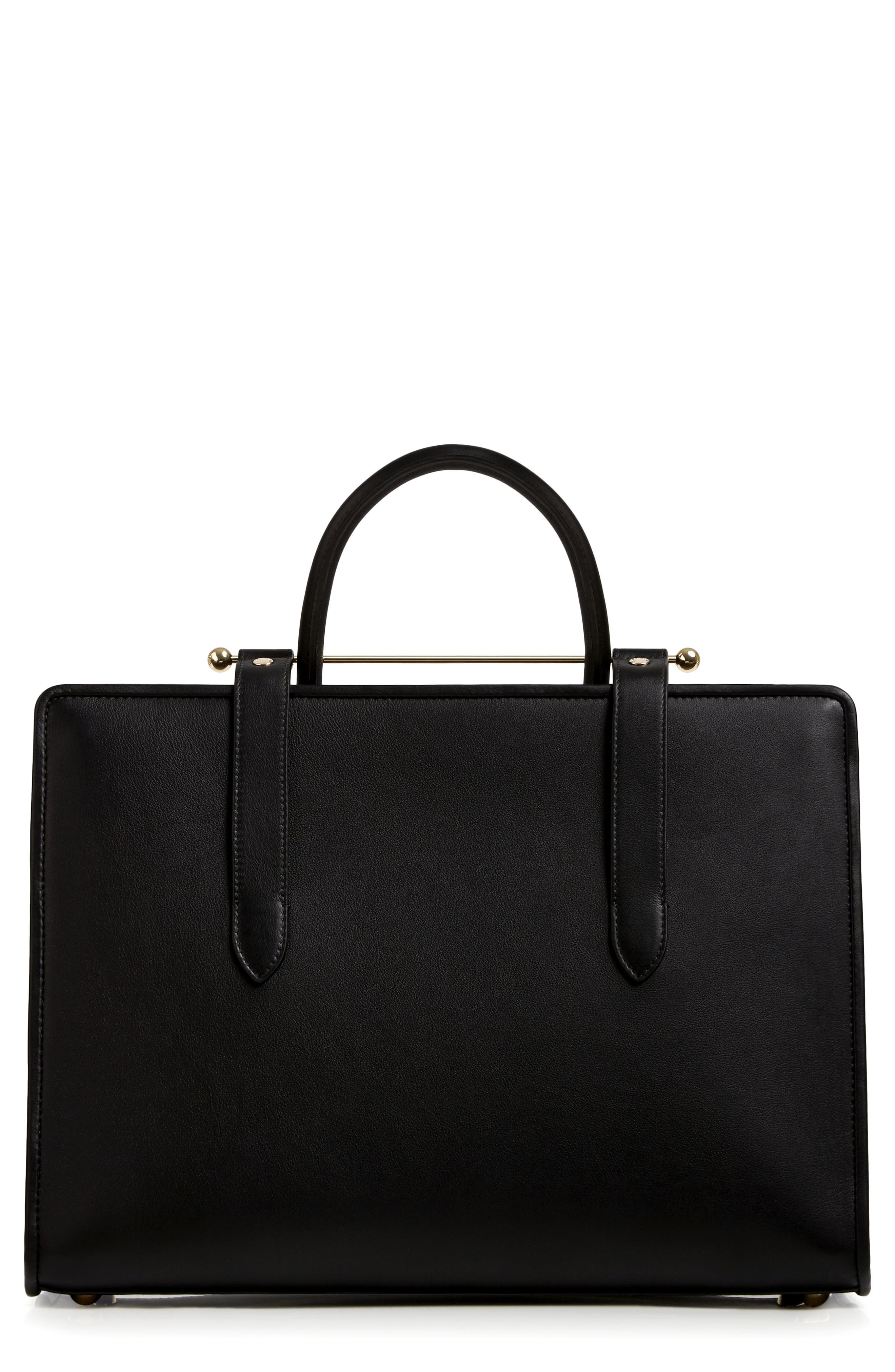 Large Leather Tote,                             Alternate thumbnail 2, color,                             BLACK