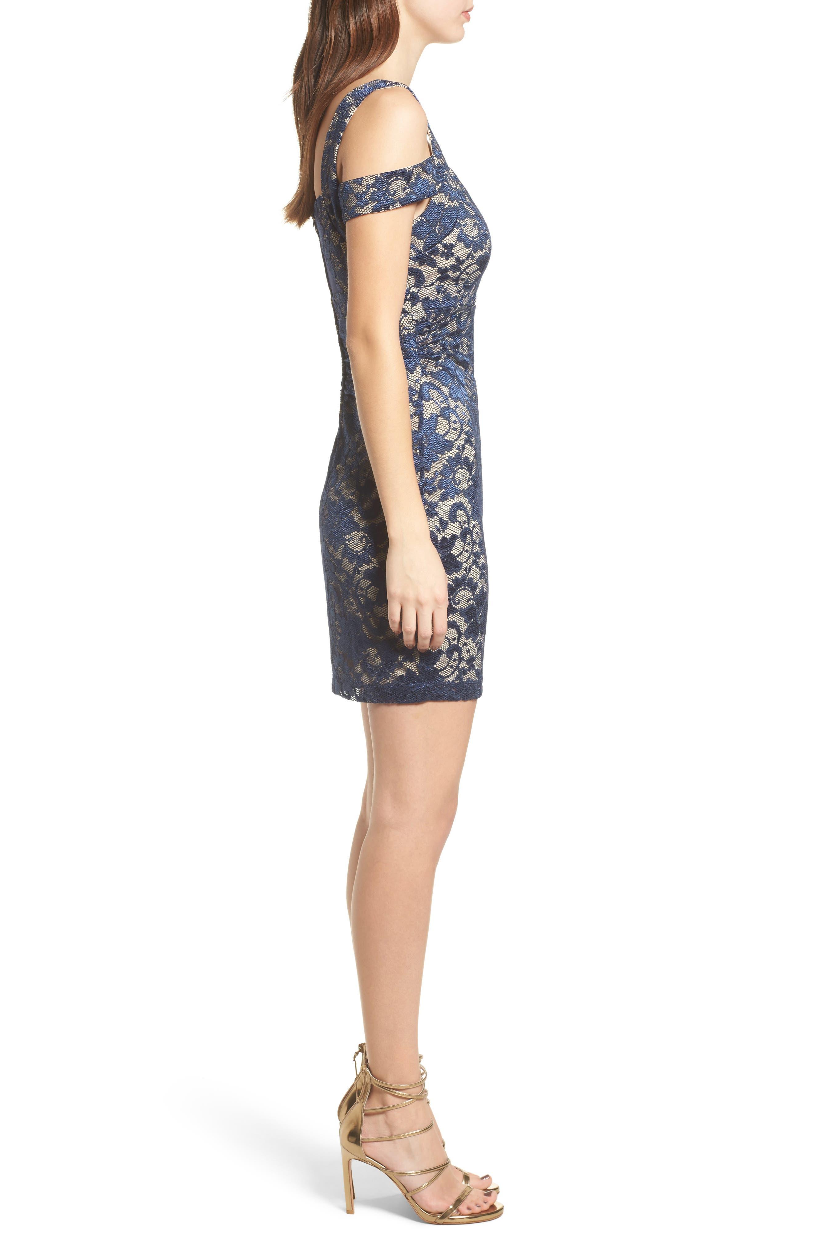 Lace Cold Shoulder Body-Con Dress,                             Alternate thumbnail 3, color,                             400