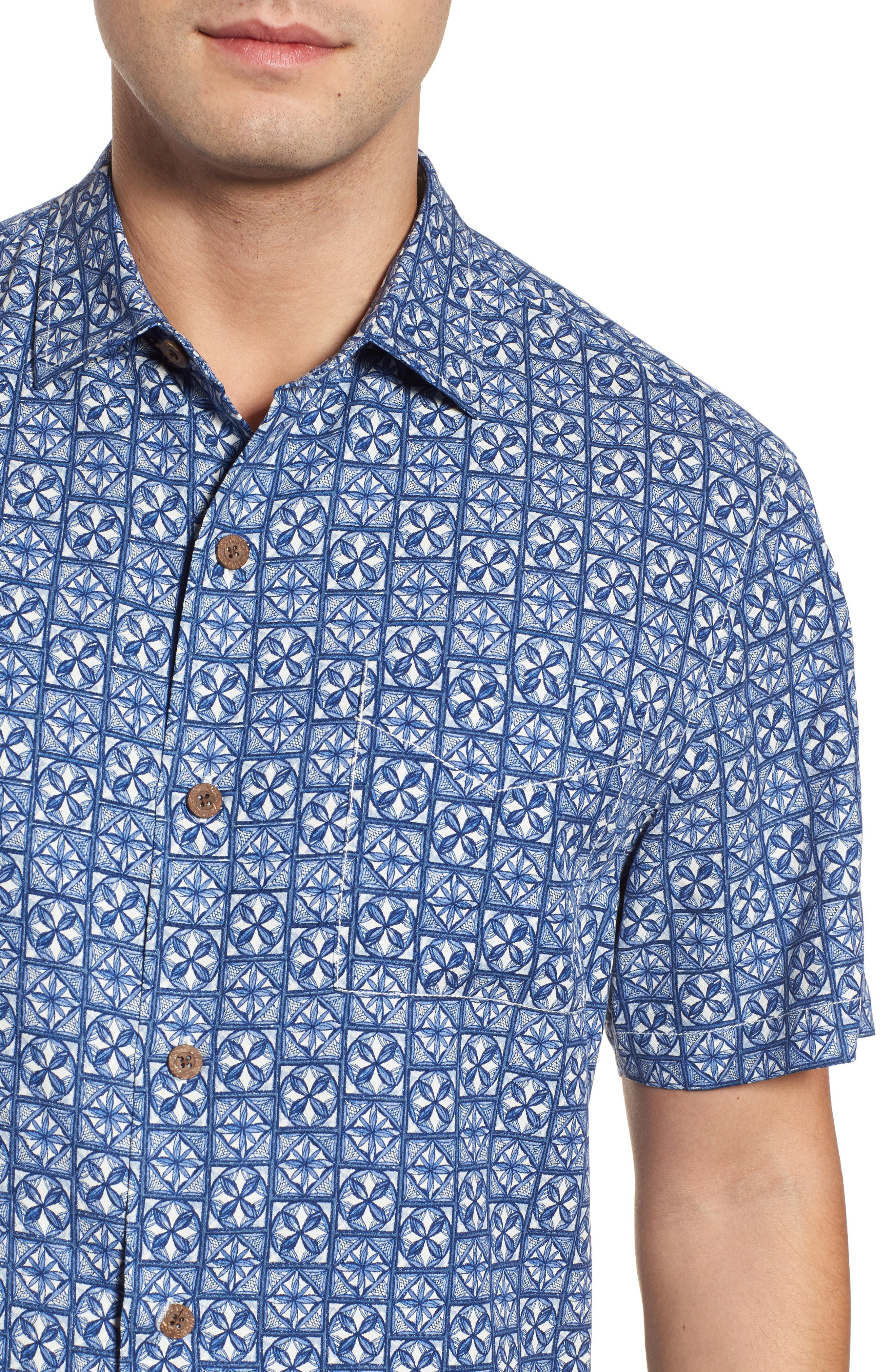 Juno Beach Geo Print Silk Camp Shirt,                             Alternate thumbnail 4, color,                             400