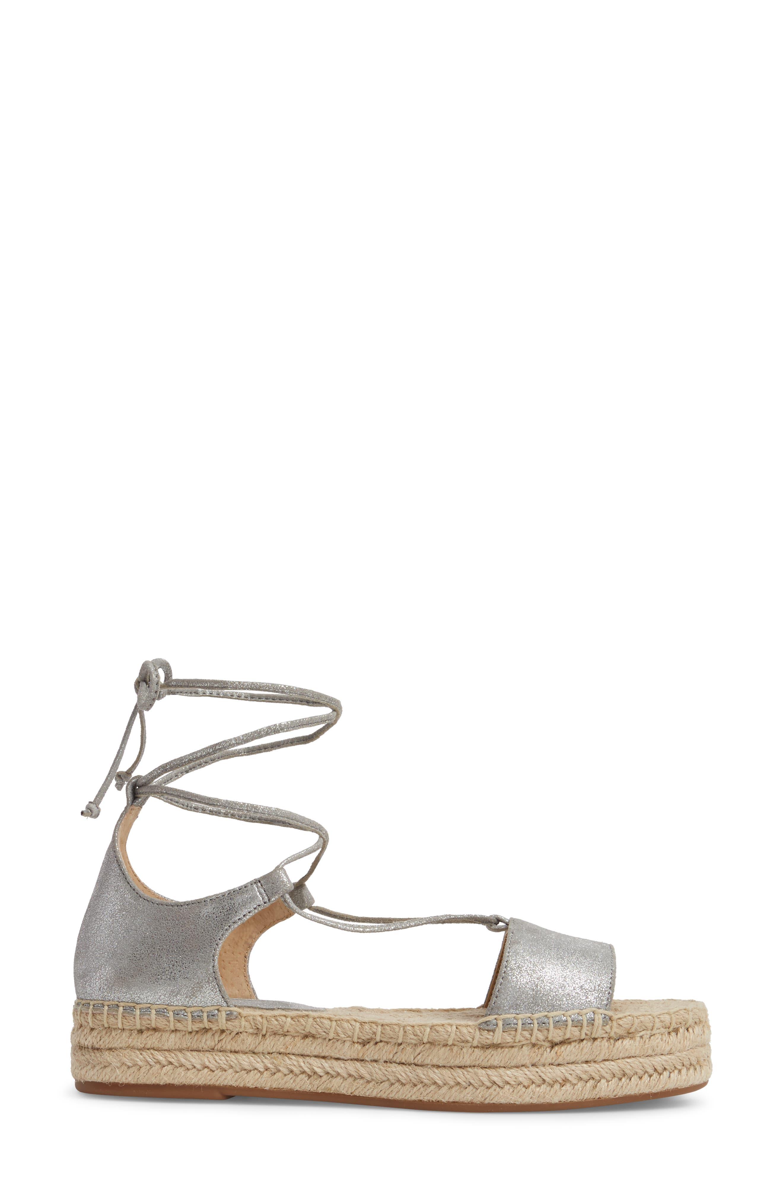 Fernanda Wraparound Platform Sandal,                             Alternate thumbnail 3, color,                             SILVER SUEDE