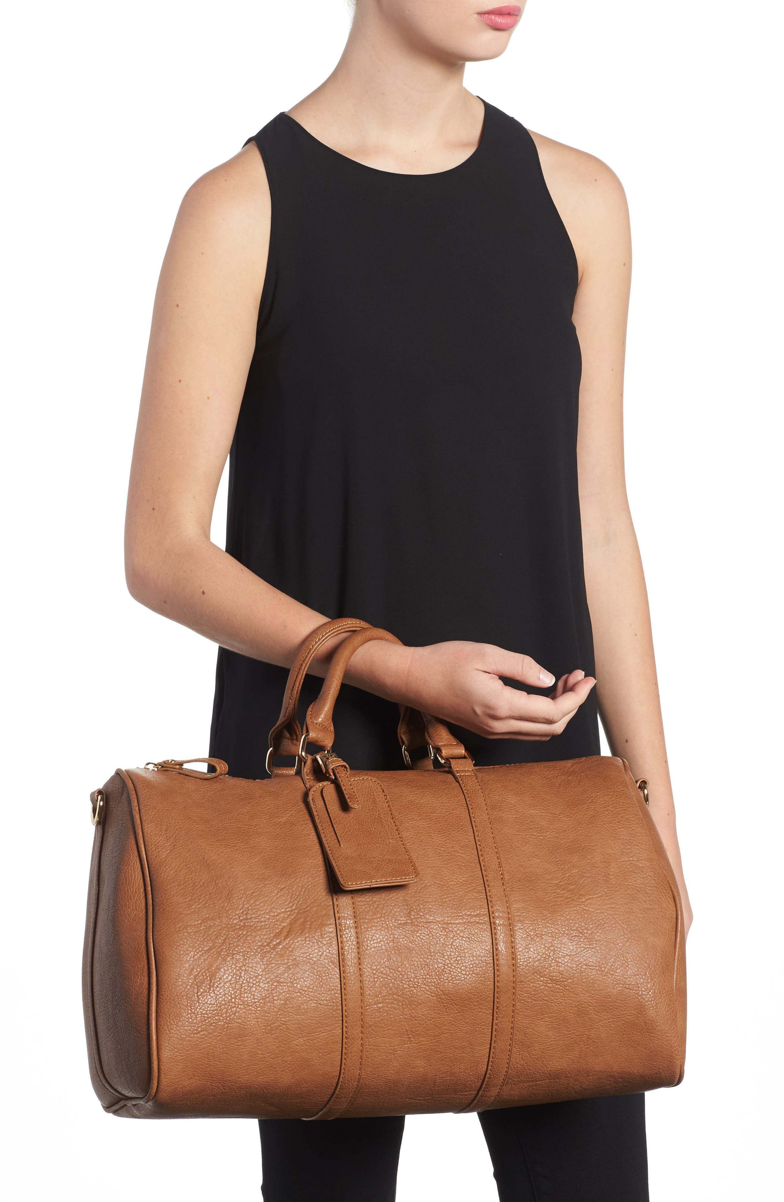 'Cassidy' Faux Leather Duffel Bag,                             Alternate thumbnail 2, color,                             COGNAC