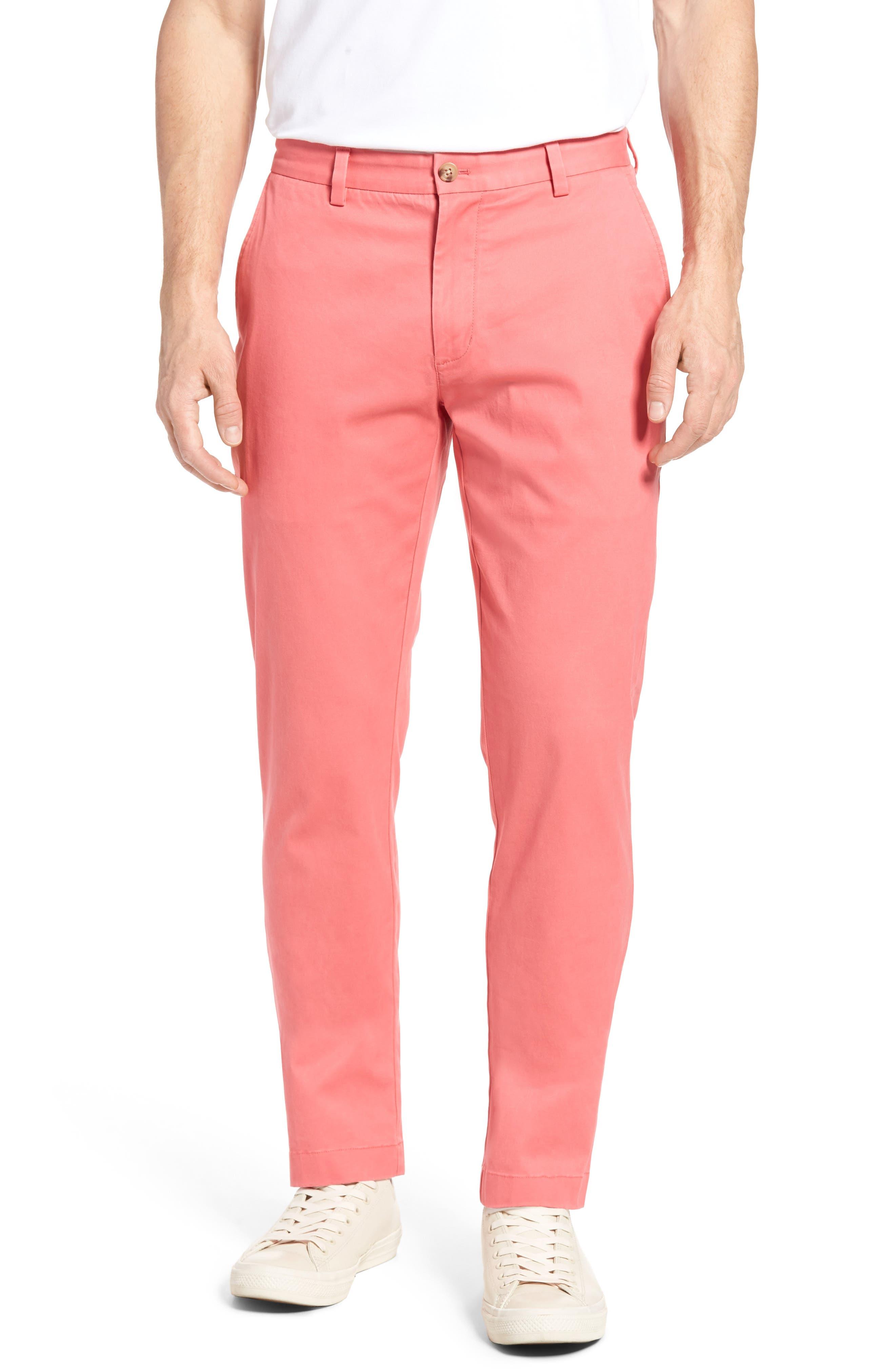 Men's Vineyard Vines Breaker Flat Front Stretch Cotton Pants, Size 34 x 30 - Blue