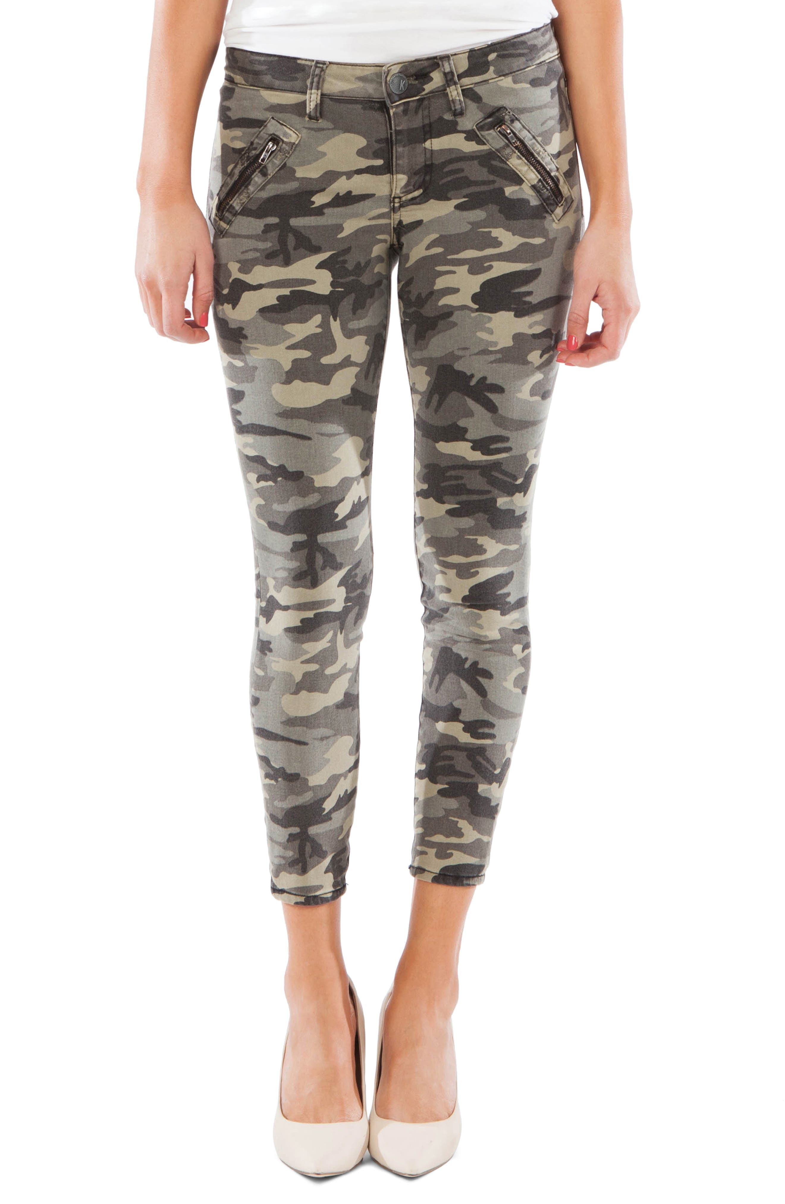 Kut From The Kloth Connie Camo Zip Pocket Ankle Skinny Jeans, Green