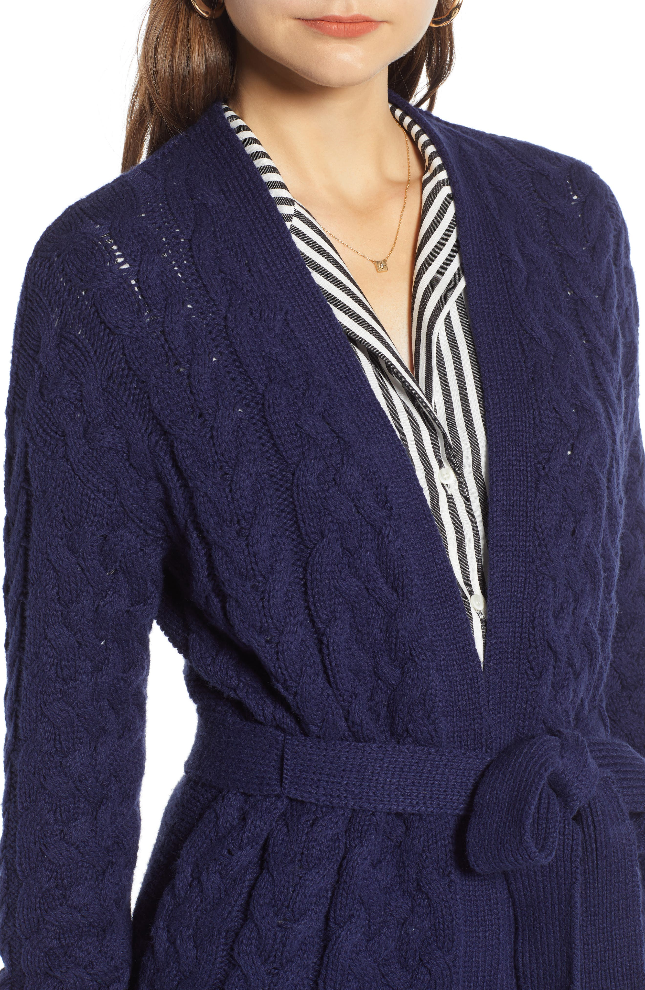 TREASURE & BOND,                             Cable Knit Belted Wrap Cardigan,                             Alternate thumbnail 4, color,                             NAVY MARITIME
