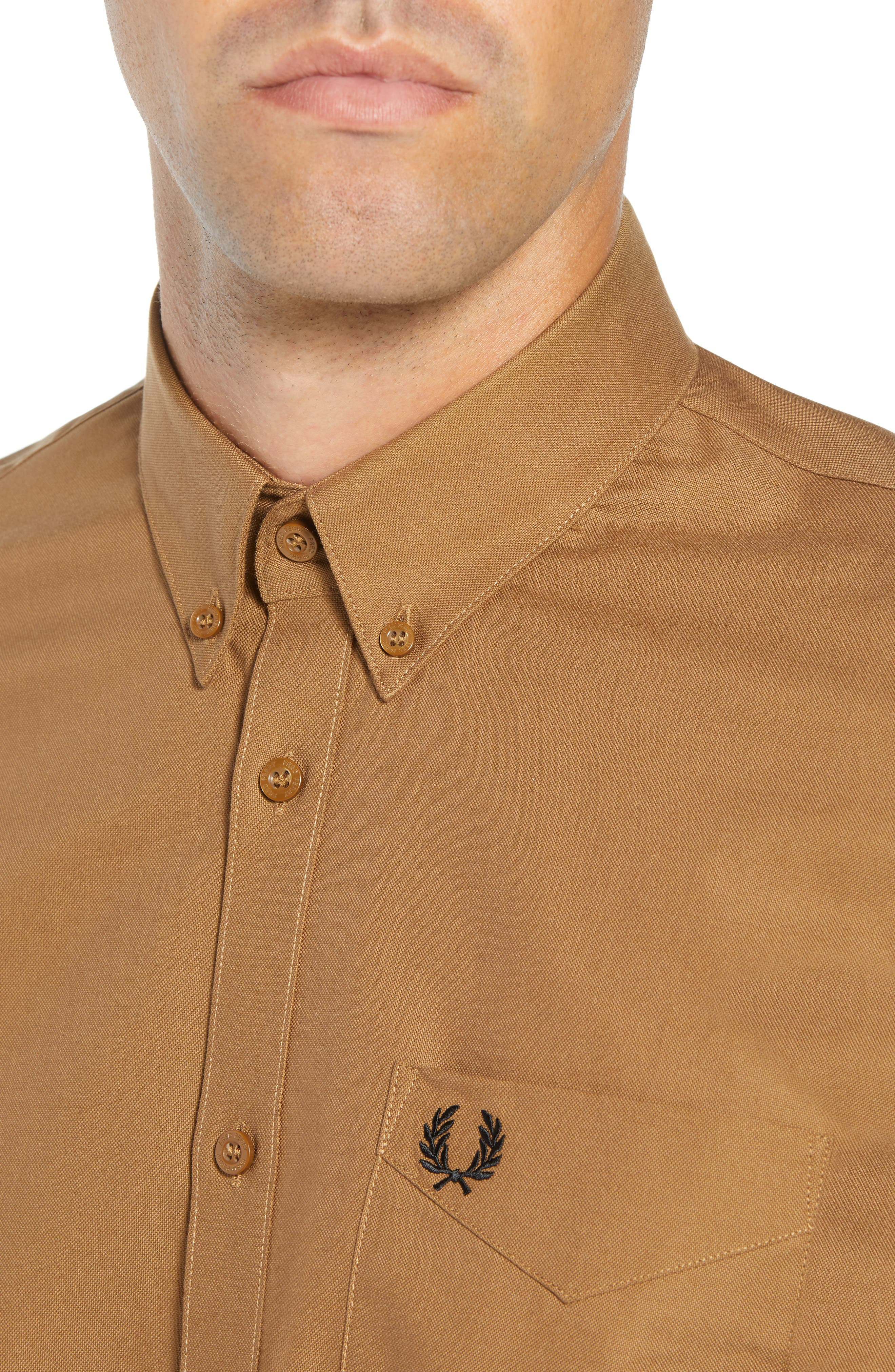 Solid Sport Shirt,                             Alternate thumbnail 2, color,                             CARAMEL