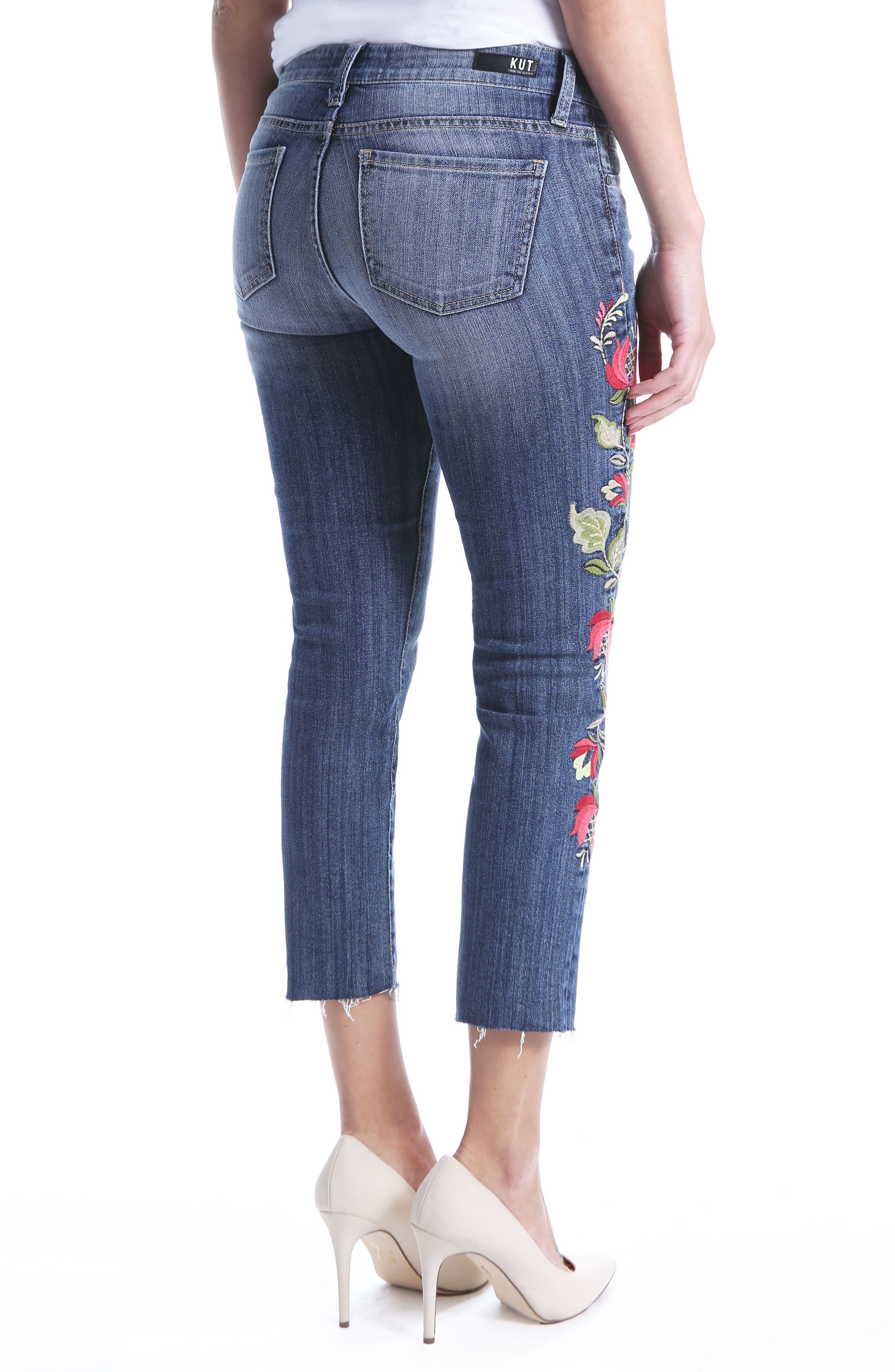 Reese Embroidered Straight Leg Raw Hem Jeans,                             Alternate thumbnail 2, color,