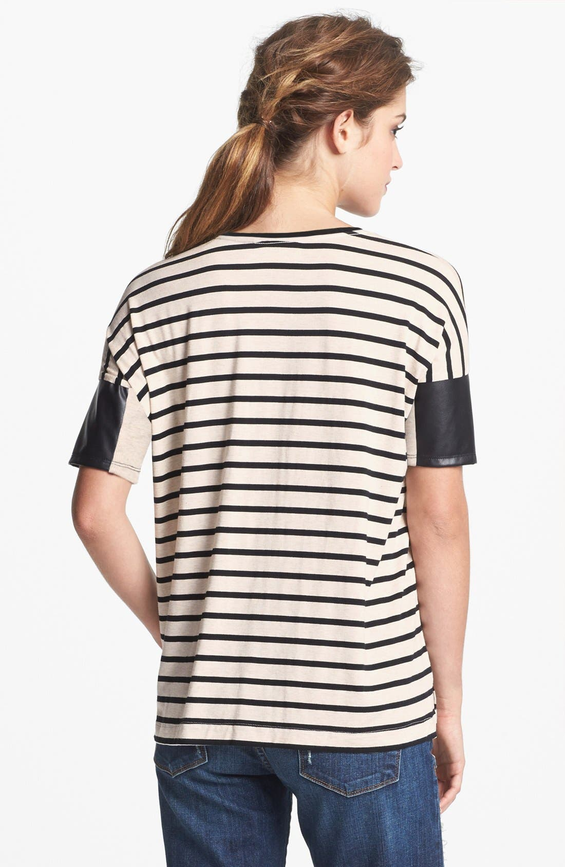 Faux Leather Sleeve Stripe Tee,                             Alternate thumbnail 3, color,                             250
