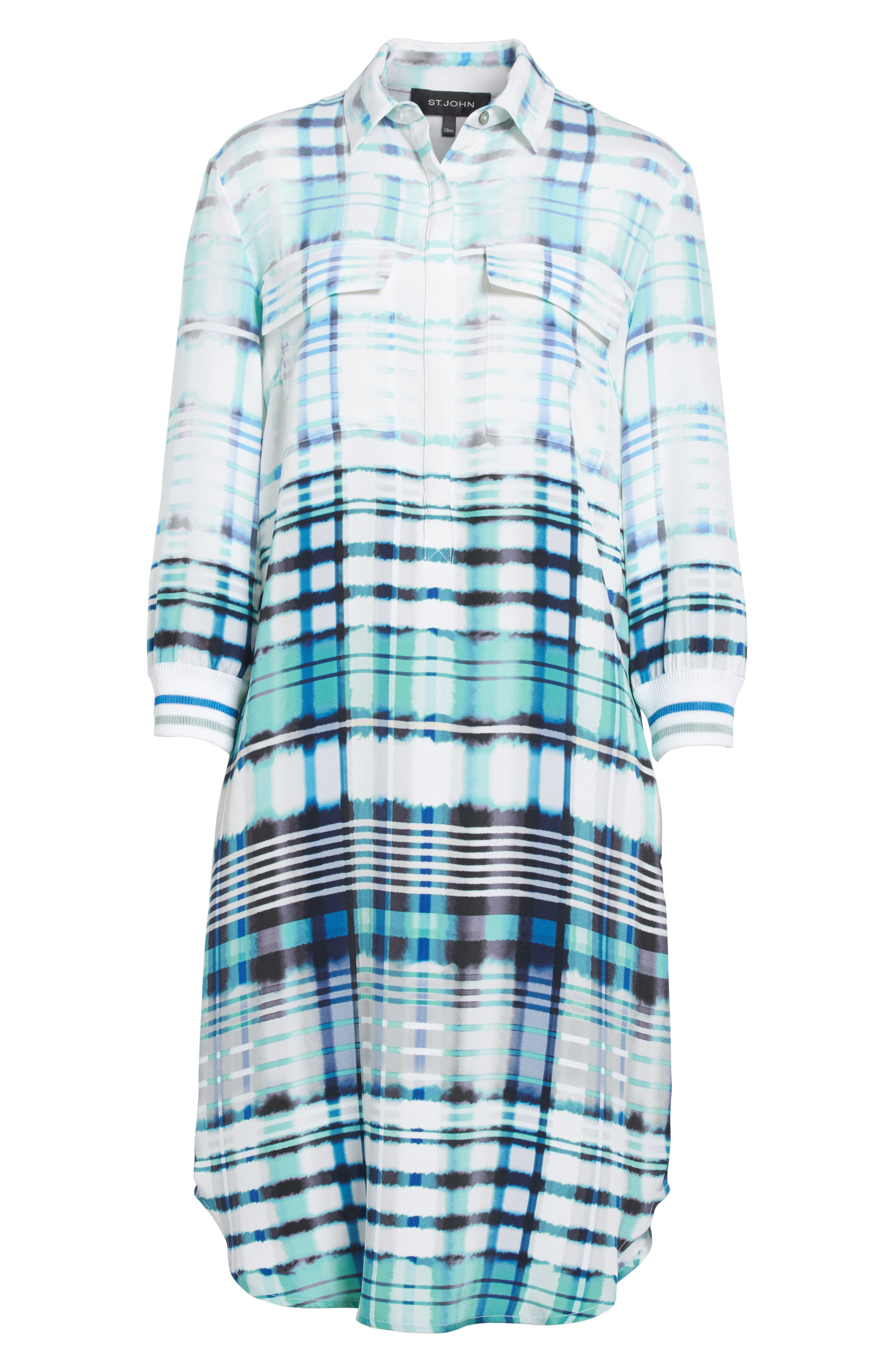 Ombré Plaid Stretch Silk Shirtdress,                             Alternate thumbnail 6, color,                             350