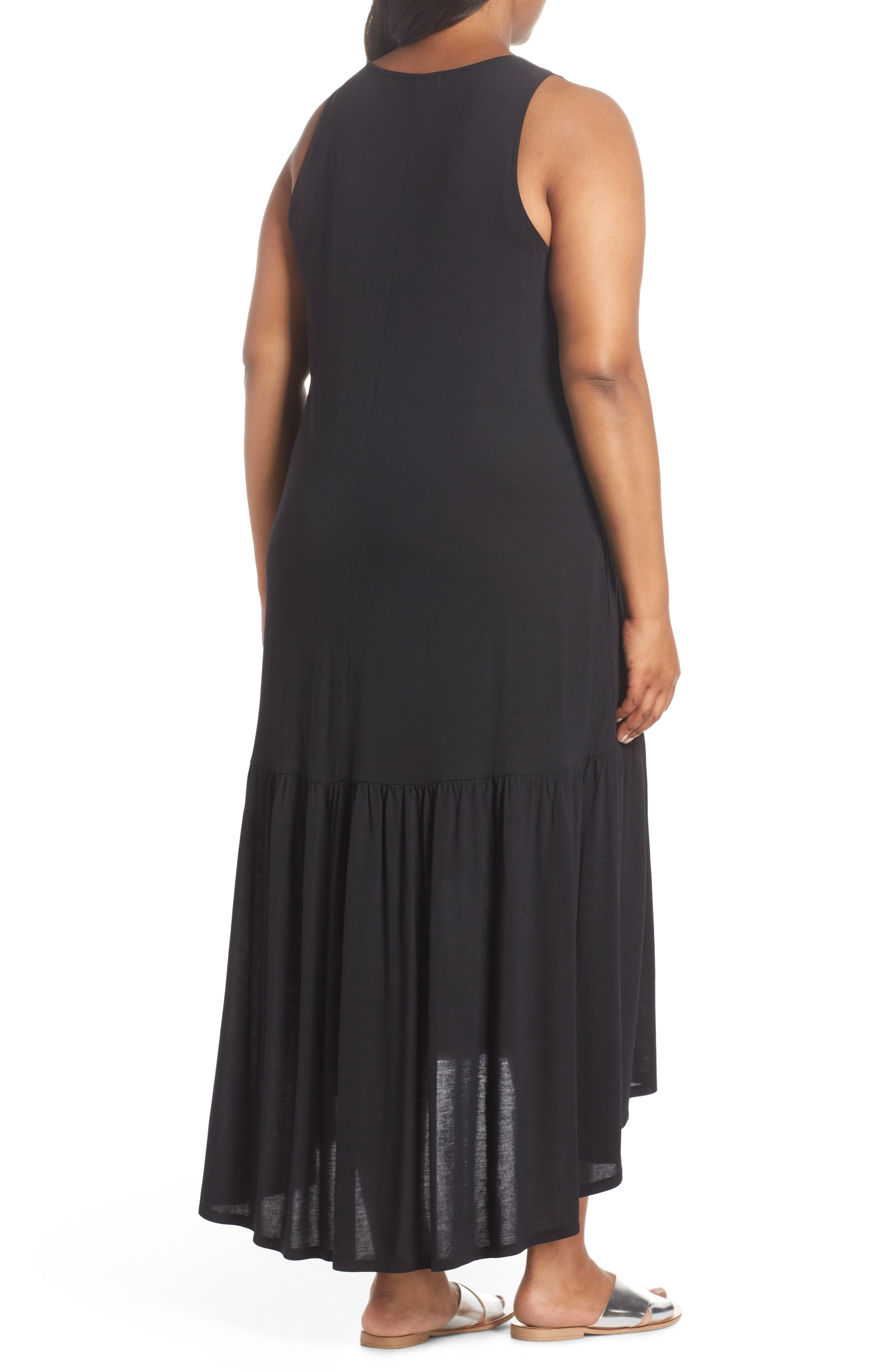 Sleeveless High/Low Knit Maxi Dress,                             Alternate thumbnail 2, color,                             001