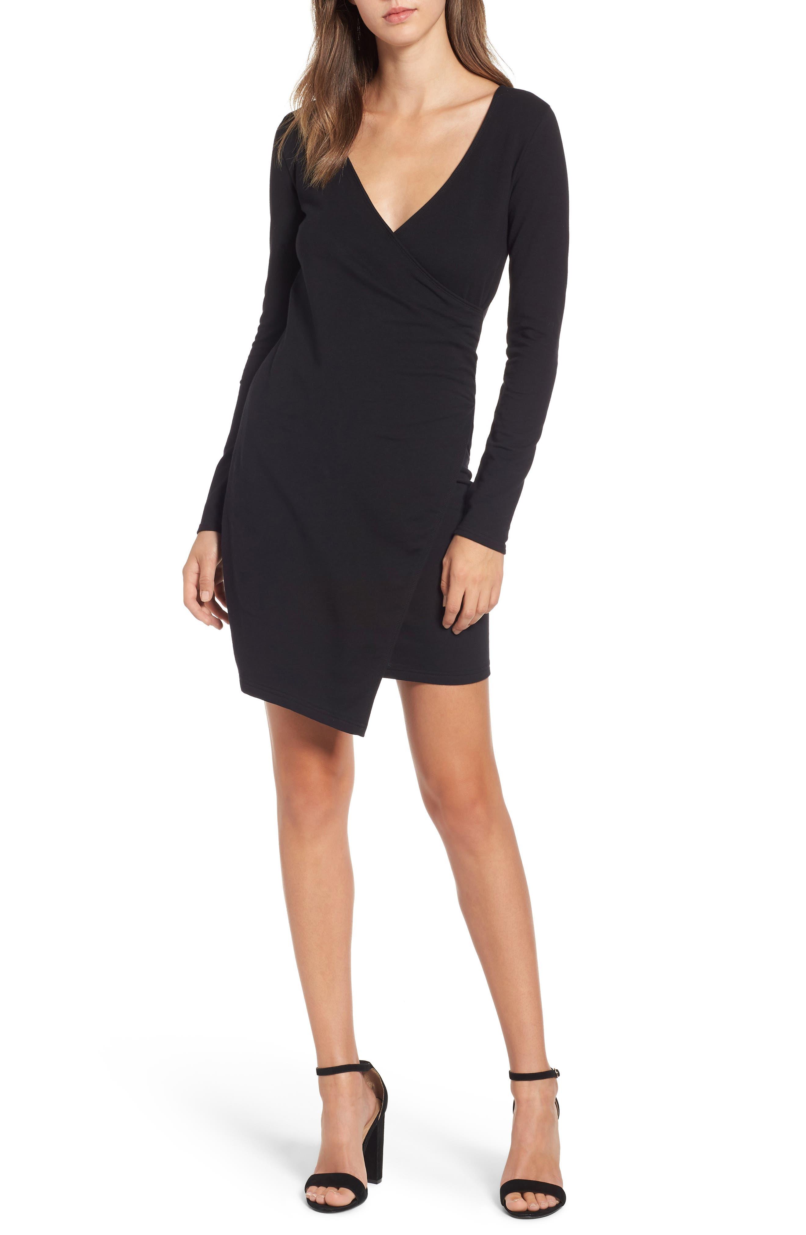 OBEY Kinzie Faux Wrap Dress, Main, color, 001