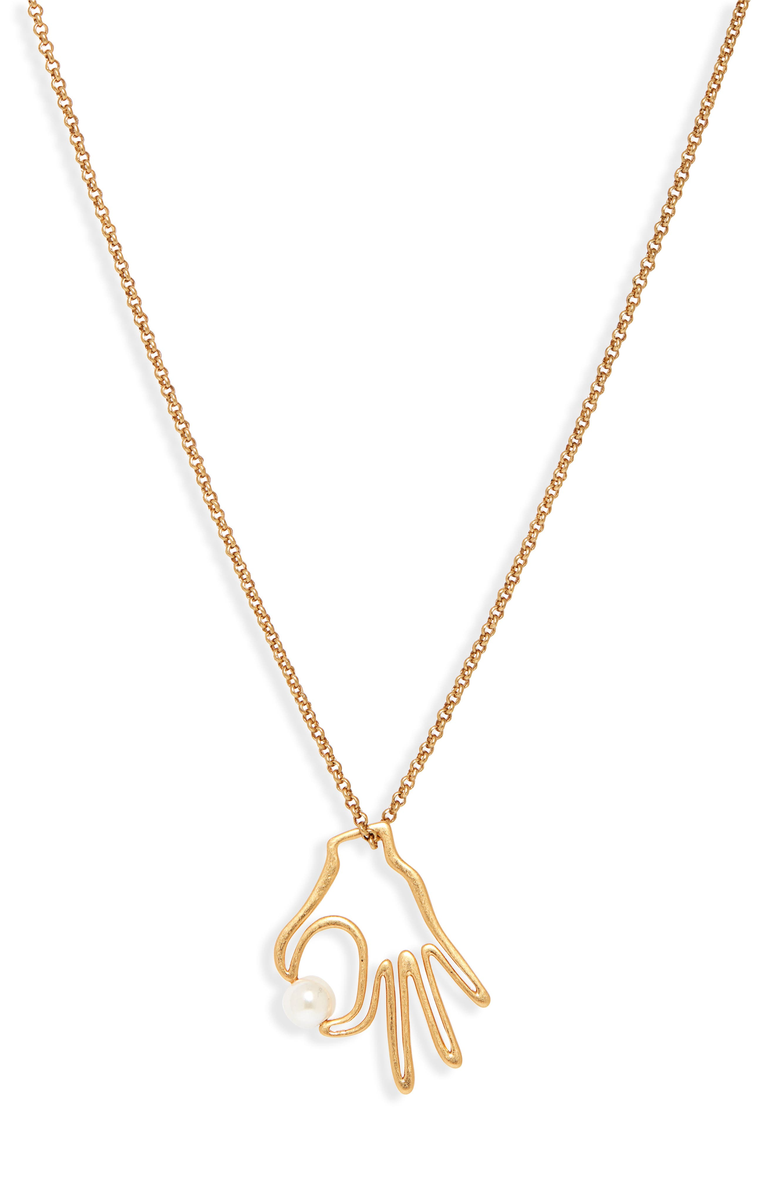 Hand Jive Pendant Necklace,                         Main,                         color, CLASSIC PEARL