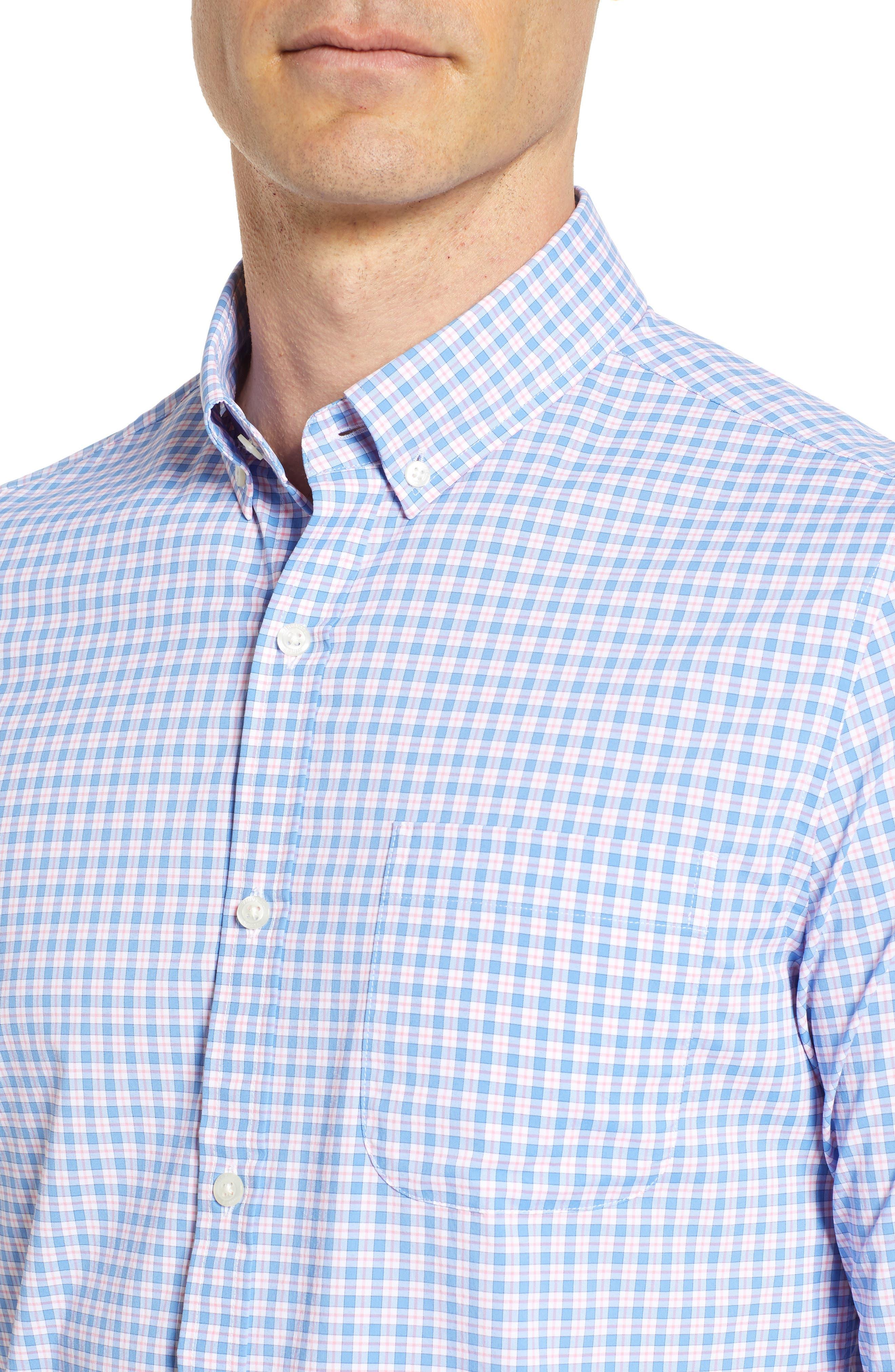 Oyster Pond Slim Fit Plaid Sport Shirt,                             Alternate thumbnail 4, color,                             OCEAN BREEZE