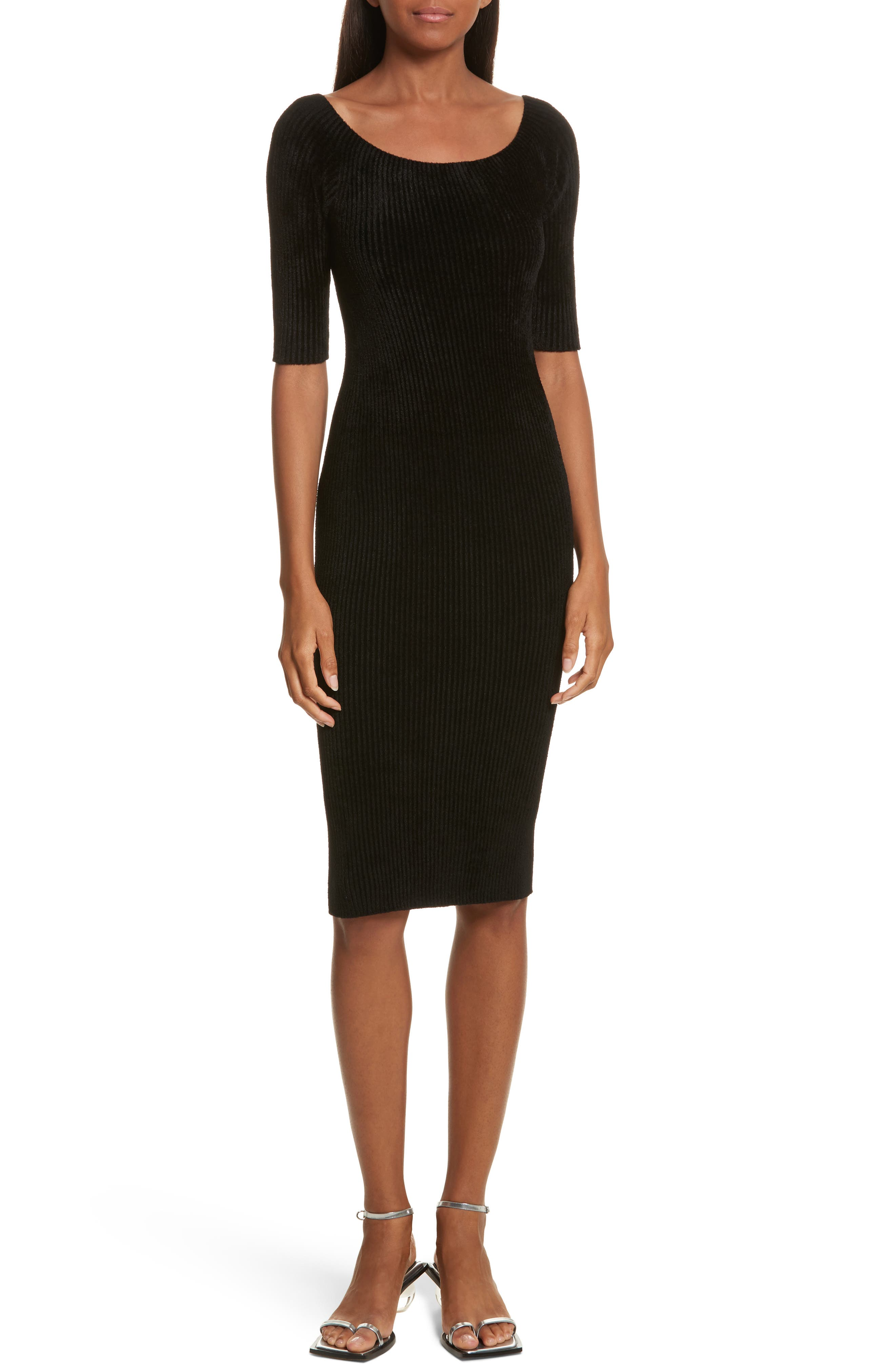 Ribbed Velveteen Body-Con Dress,                             Main thumbnail 1, color,                             001
