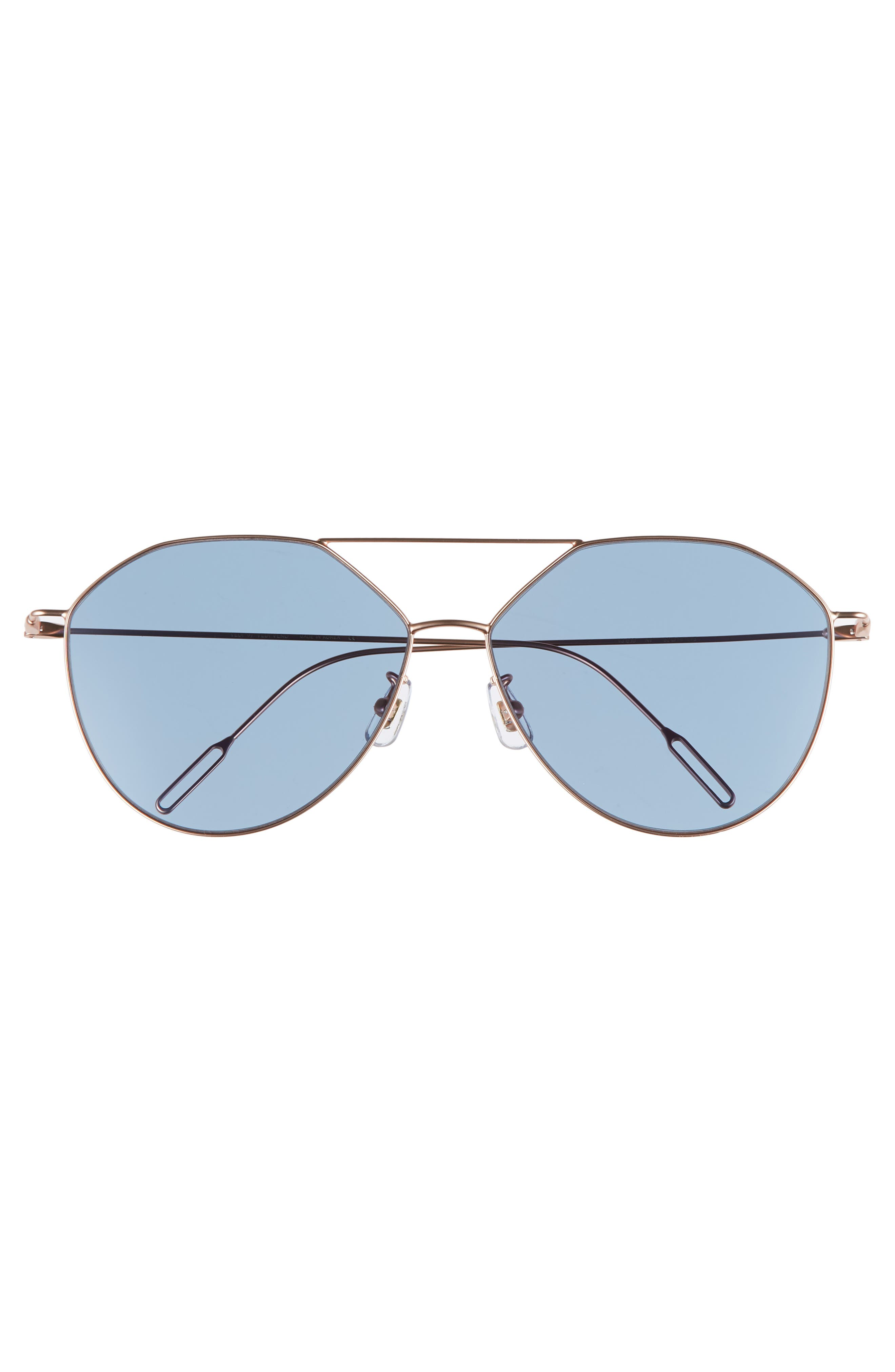 62mm Metal Oversize Aviator Sunglasses,                             Alternate thumbnail 3, color,                             ROSE GOLD/NAVY