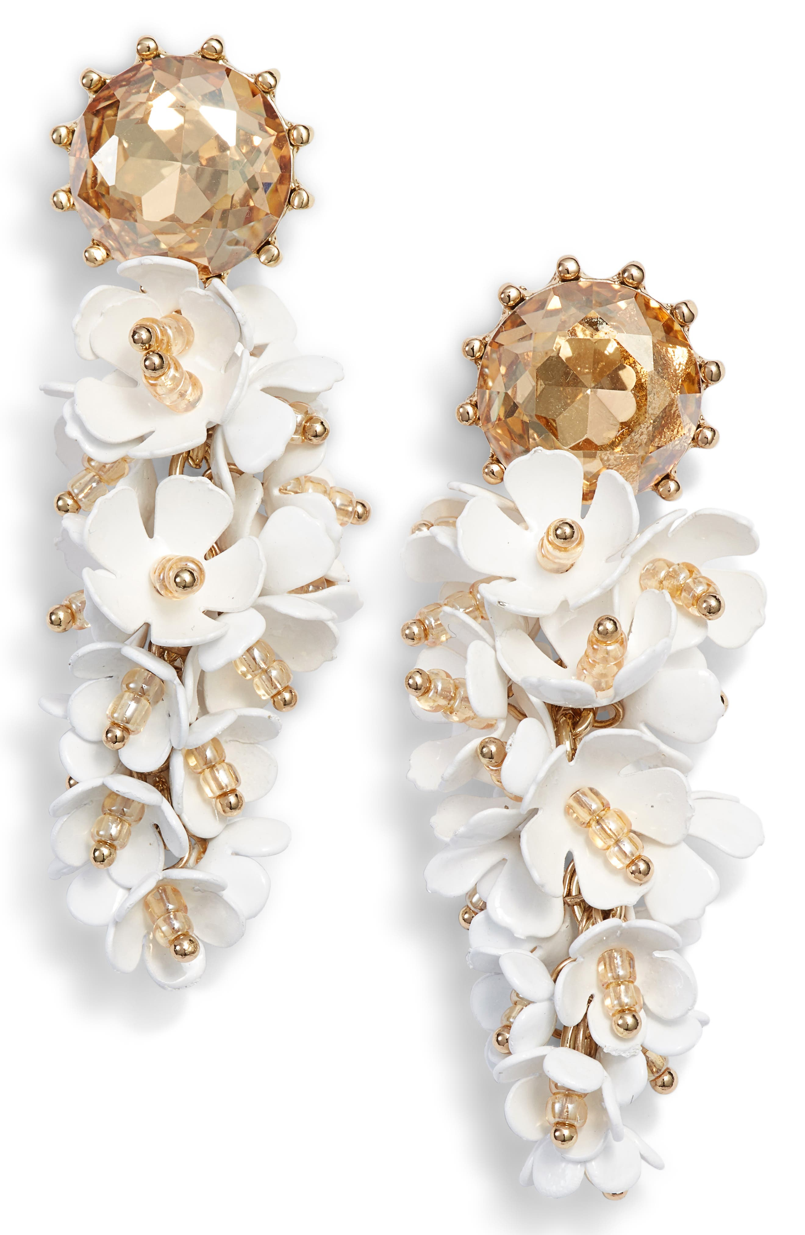 STELLA + RUBY Tallulah Floral Drop Earrings in Gold/ White