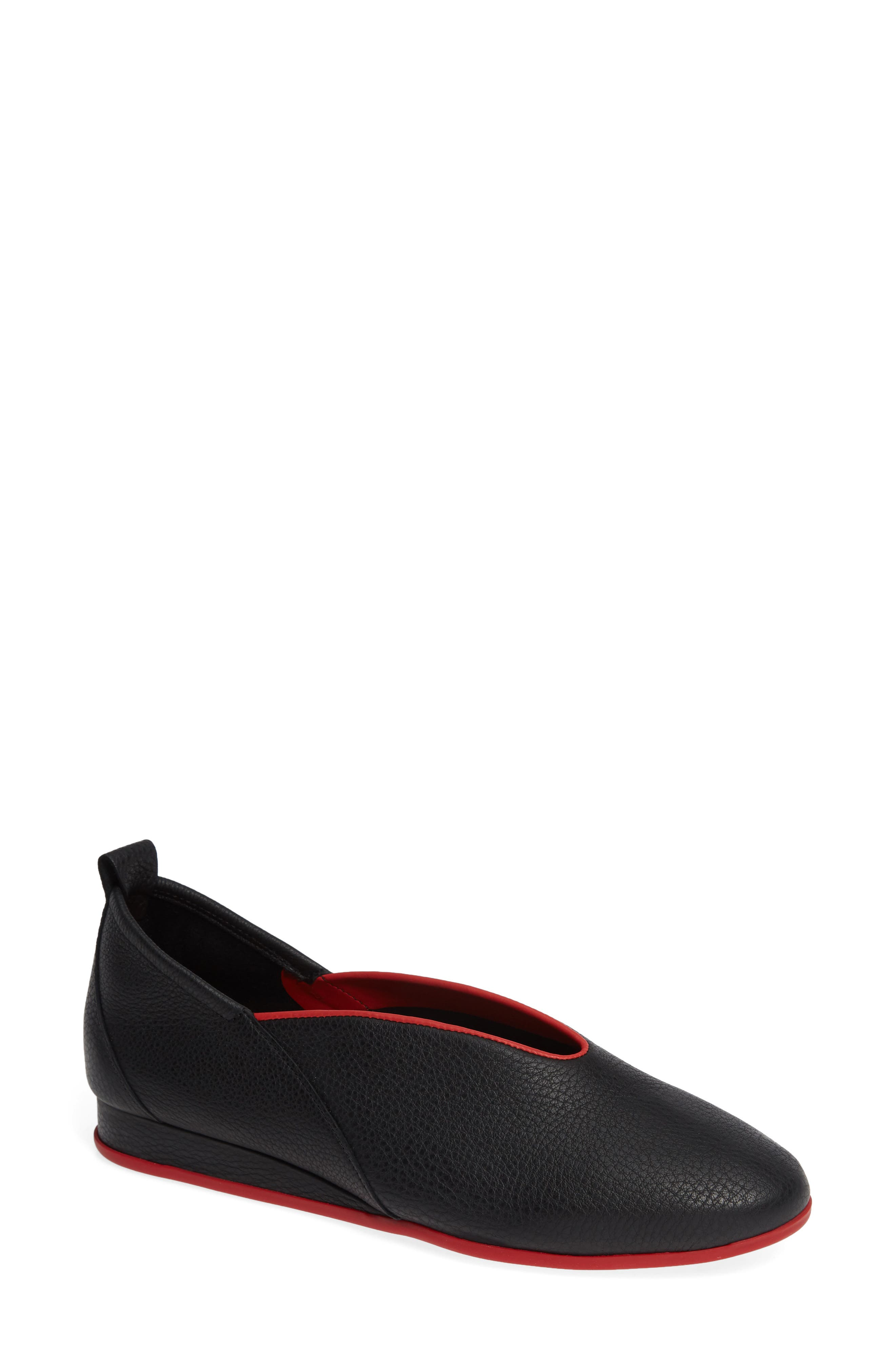 ARCHE Women'S Piassy Leather Demi-Wedge Flats in Noir/ Fue Fabric