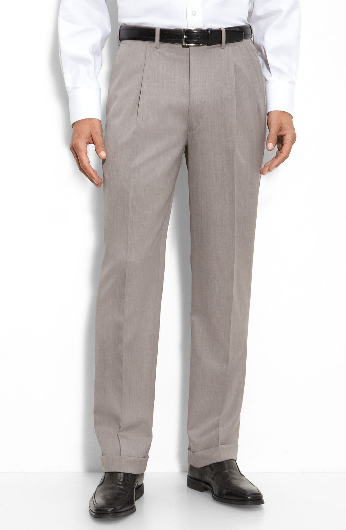 Pleated Super 100s Worsted Wool Trousers,                             Main thumbnail 5, color,