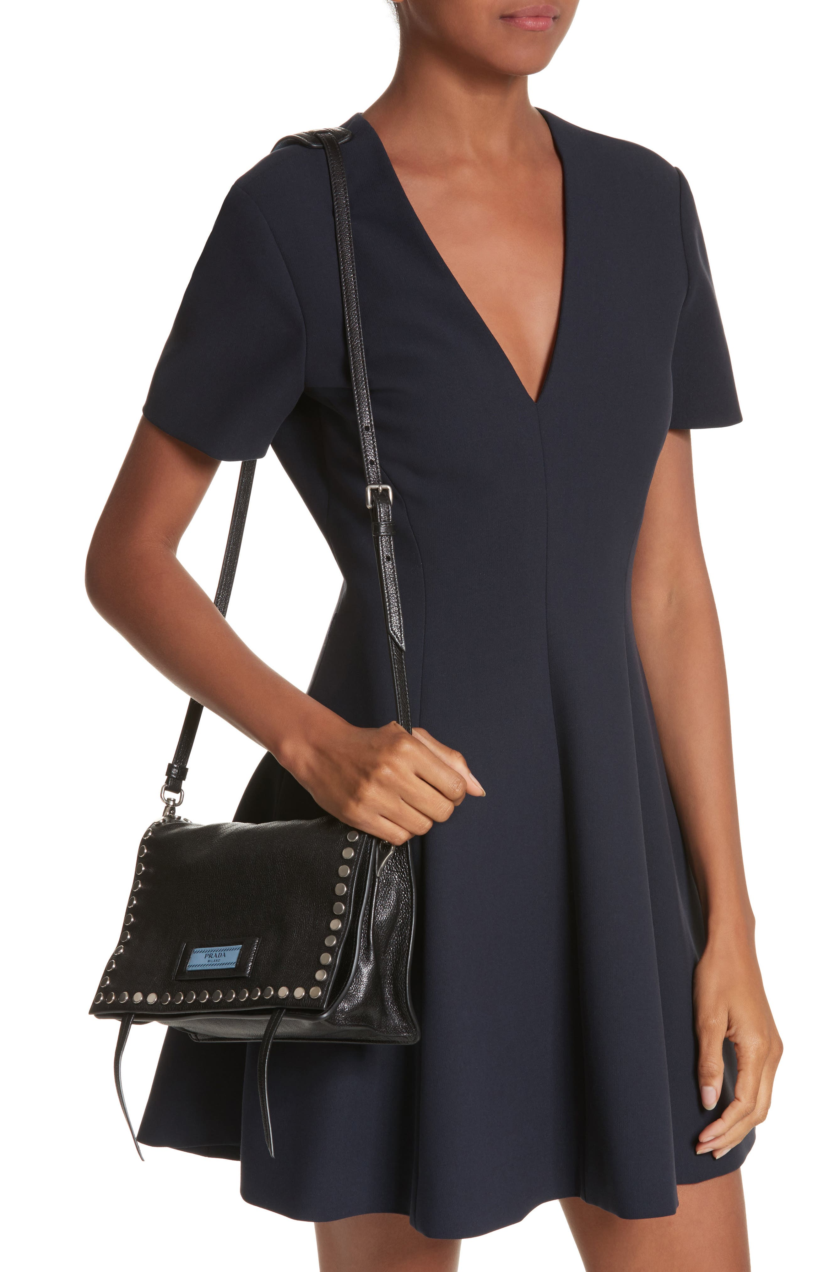 Small Stud Etiquette Shoulder Bag,                             Alternate thumbnail 2, color,                             NERO/ ASTRALE