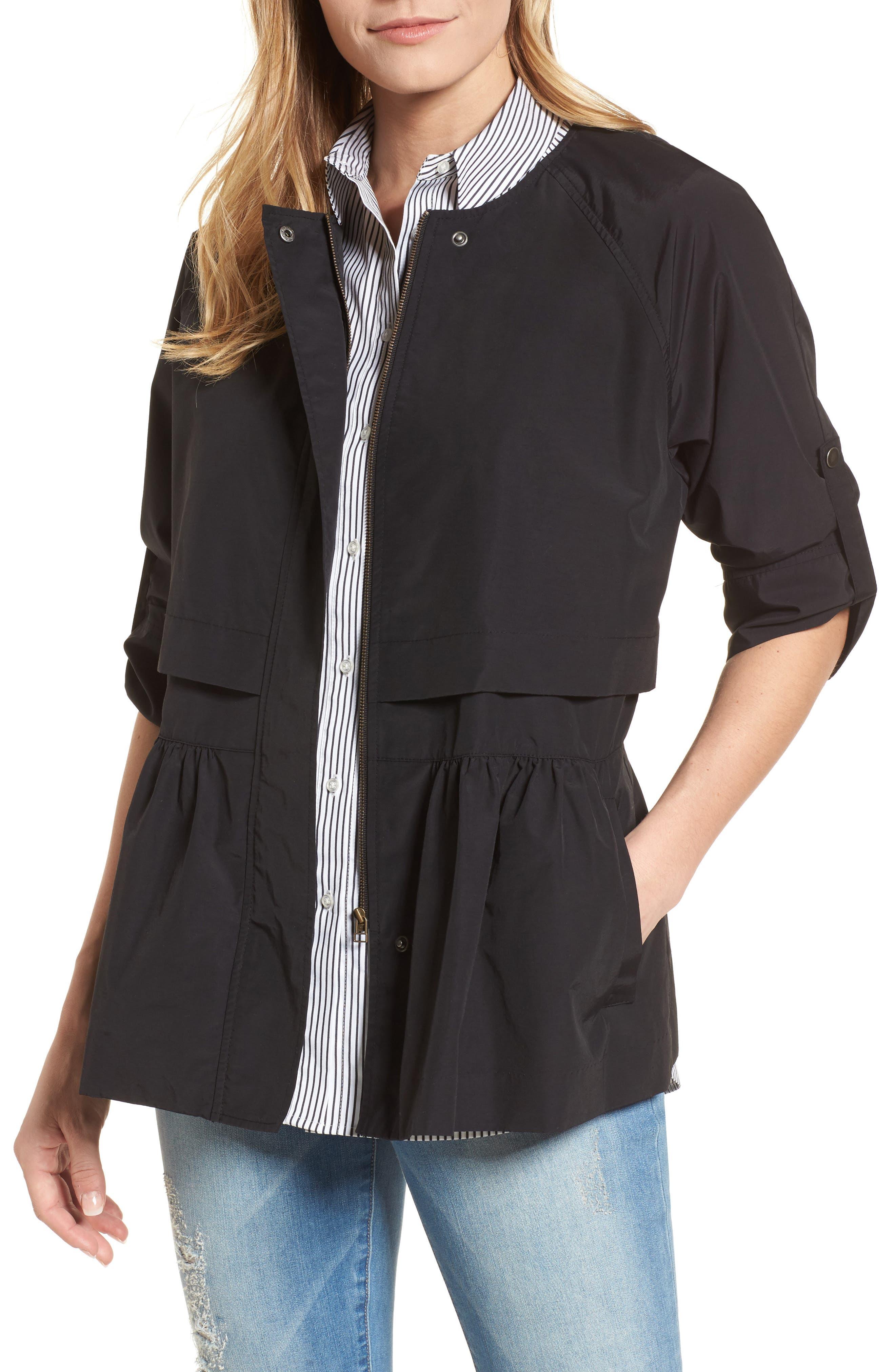 Peplum Cotton Blend Utility Jacket,                         Main,                         color, 001