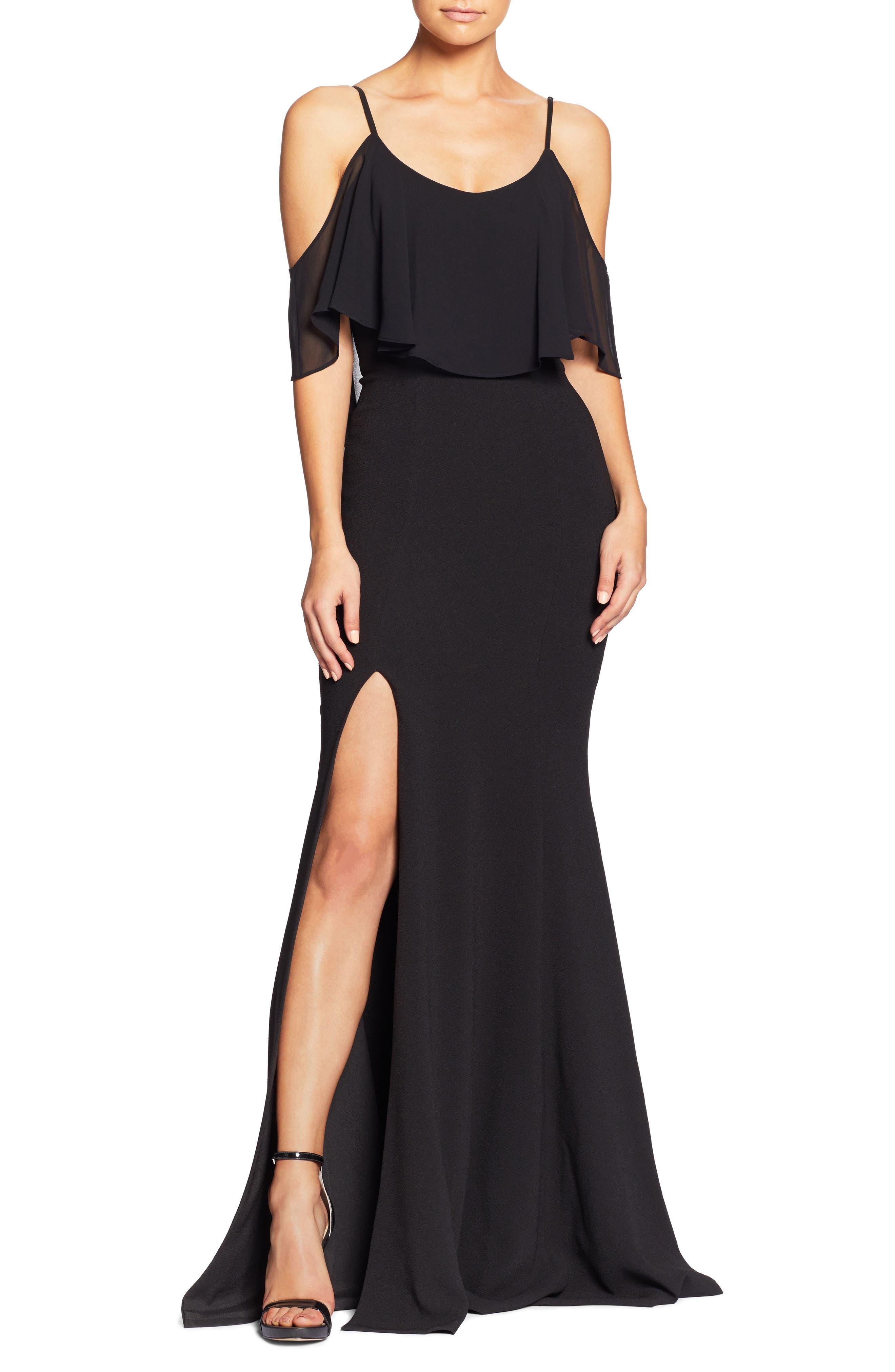 Dress The Population Diana Cold Shoulder Side Slit Gown, Black