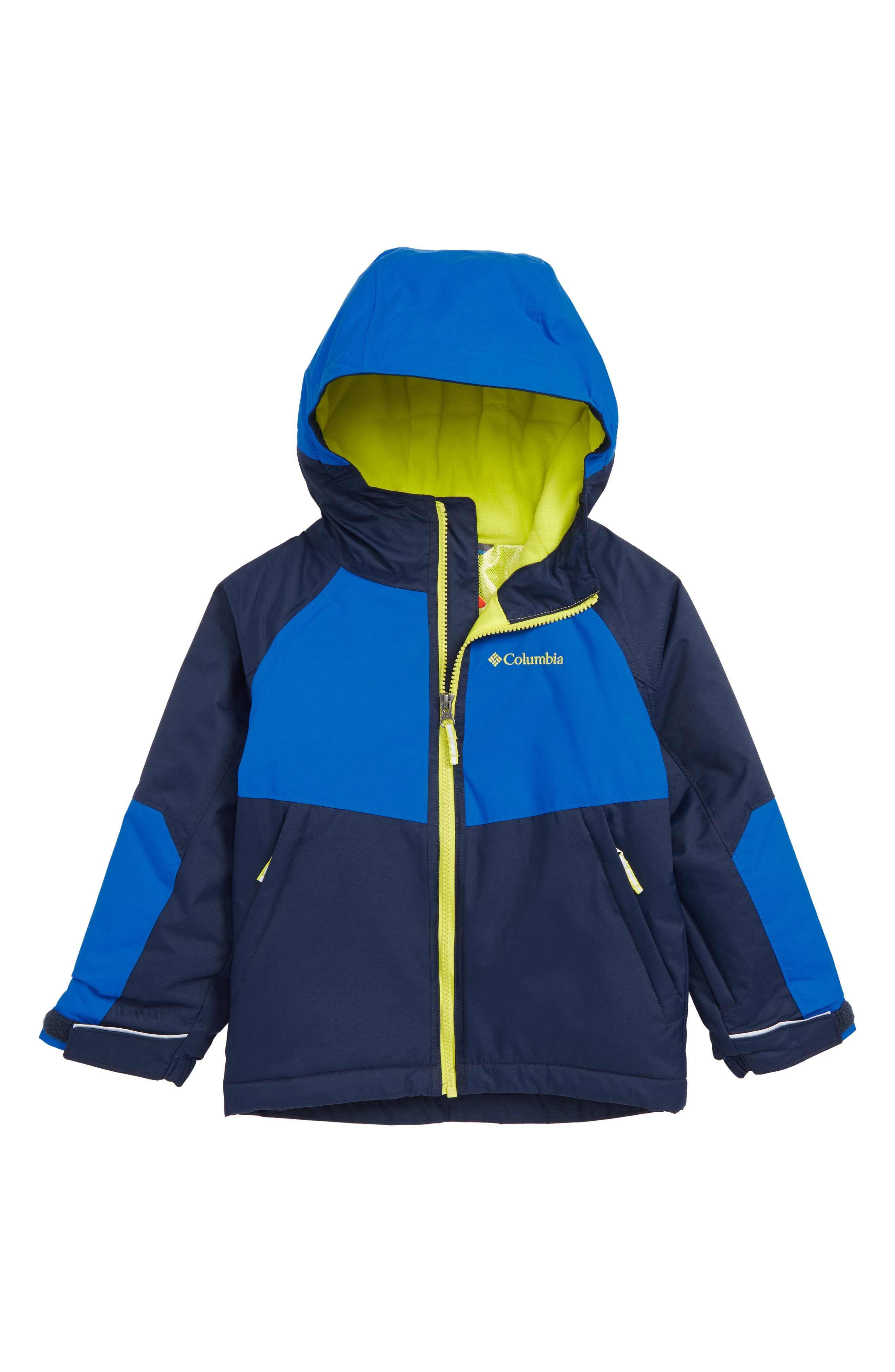 Alpine Action Omni Heat Waterproof Hooded Jacket,                             Main thumbnail 1, color,                             COLLEGIATE NAVY SUPER BLUE