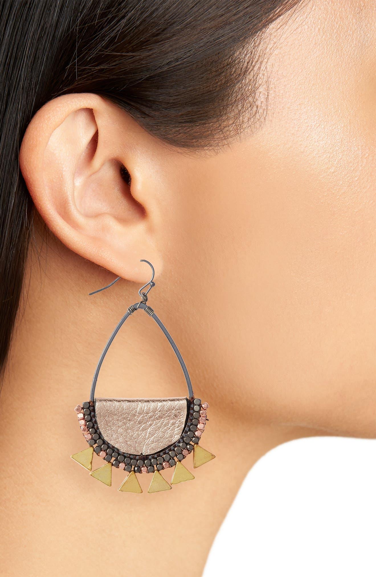 Beaded Teardrop Earrings,                             Alternate thumbnail 2, color,                             710