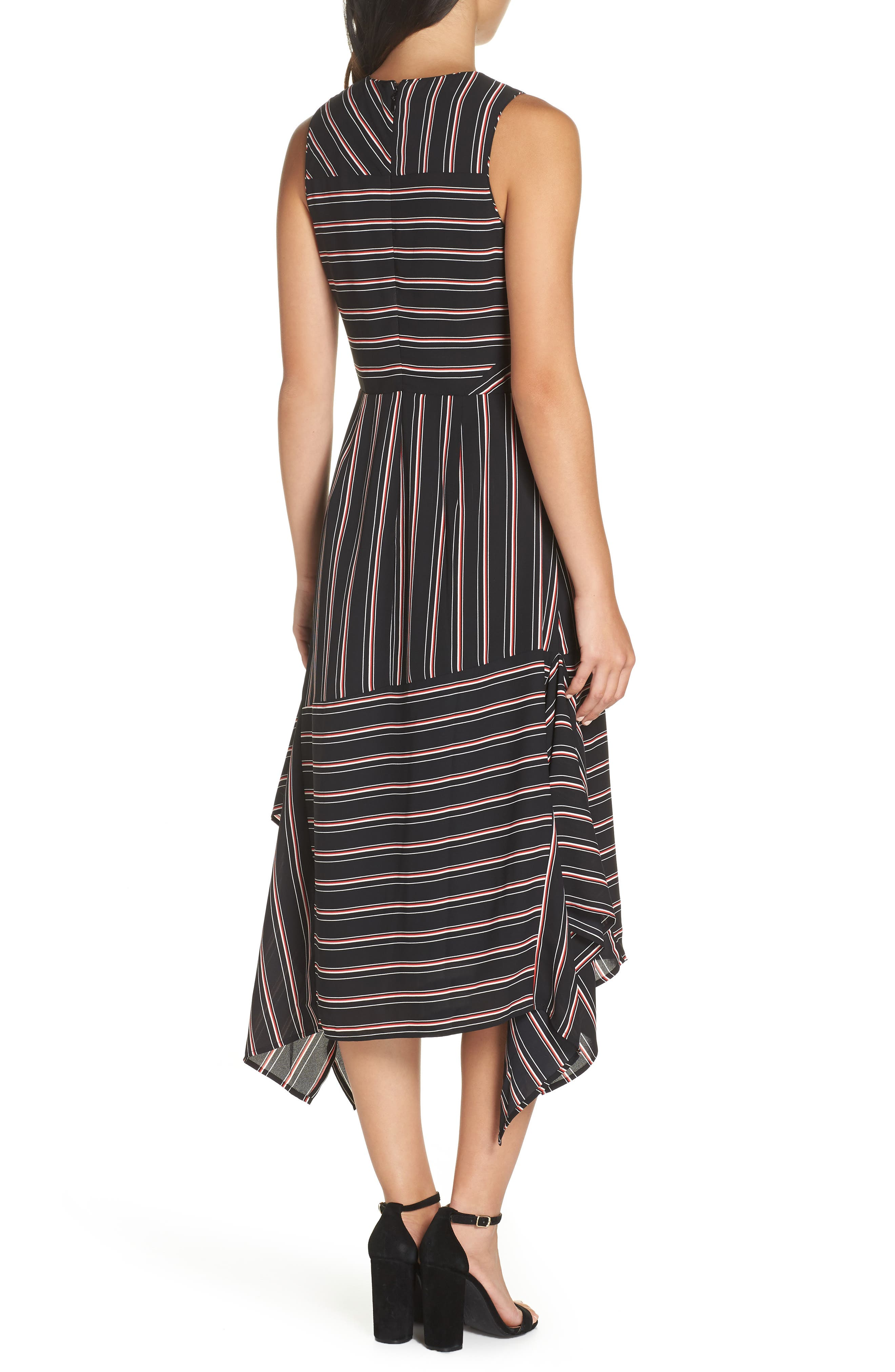 Mix Stripe Midi Dress,                             Alternate thumbnail 2, color,                             BLACK STRIPE MIX COMBO