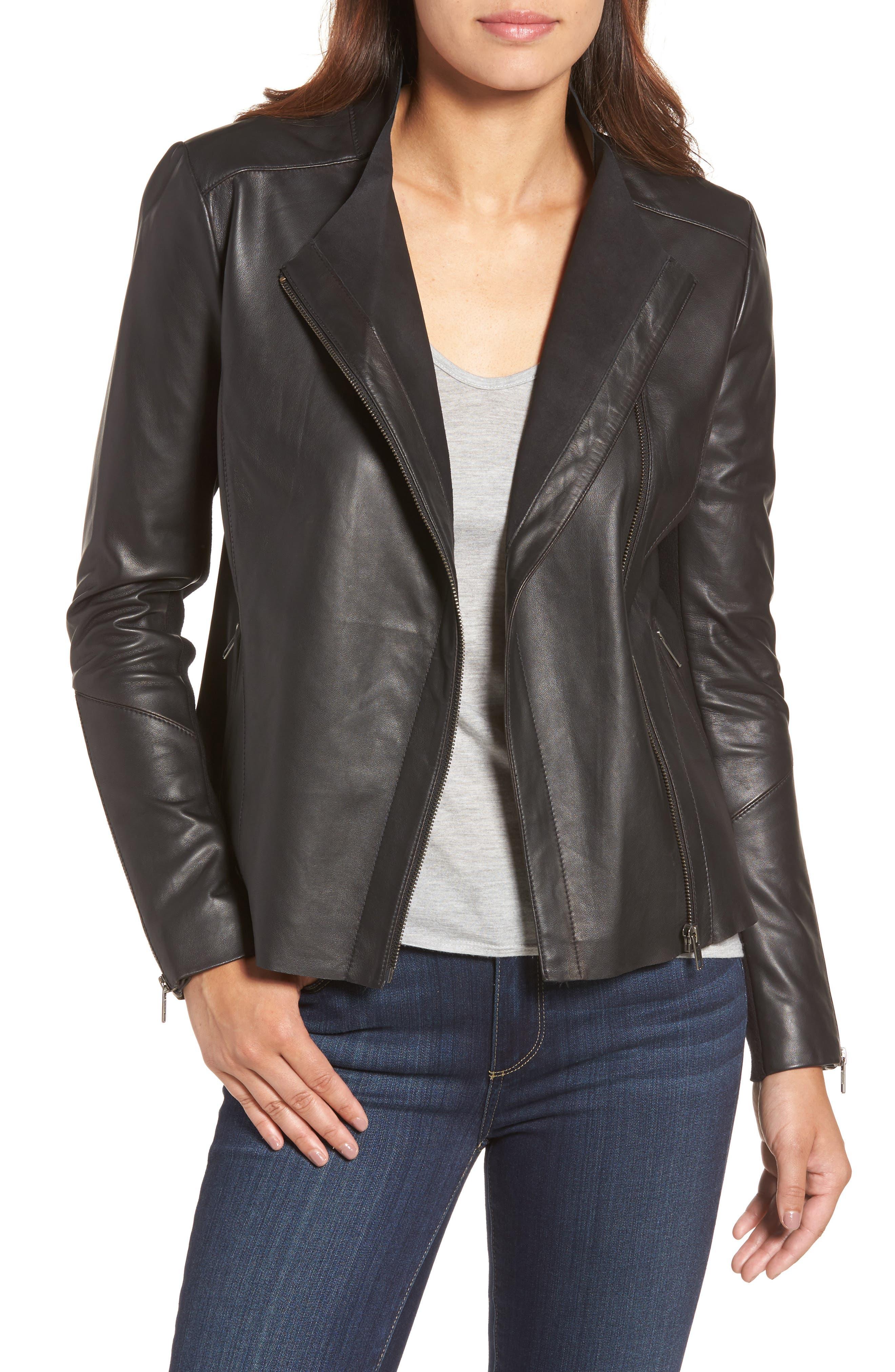 Asymmetrical Leather Jacket,                             Main thumbnail 1, color,