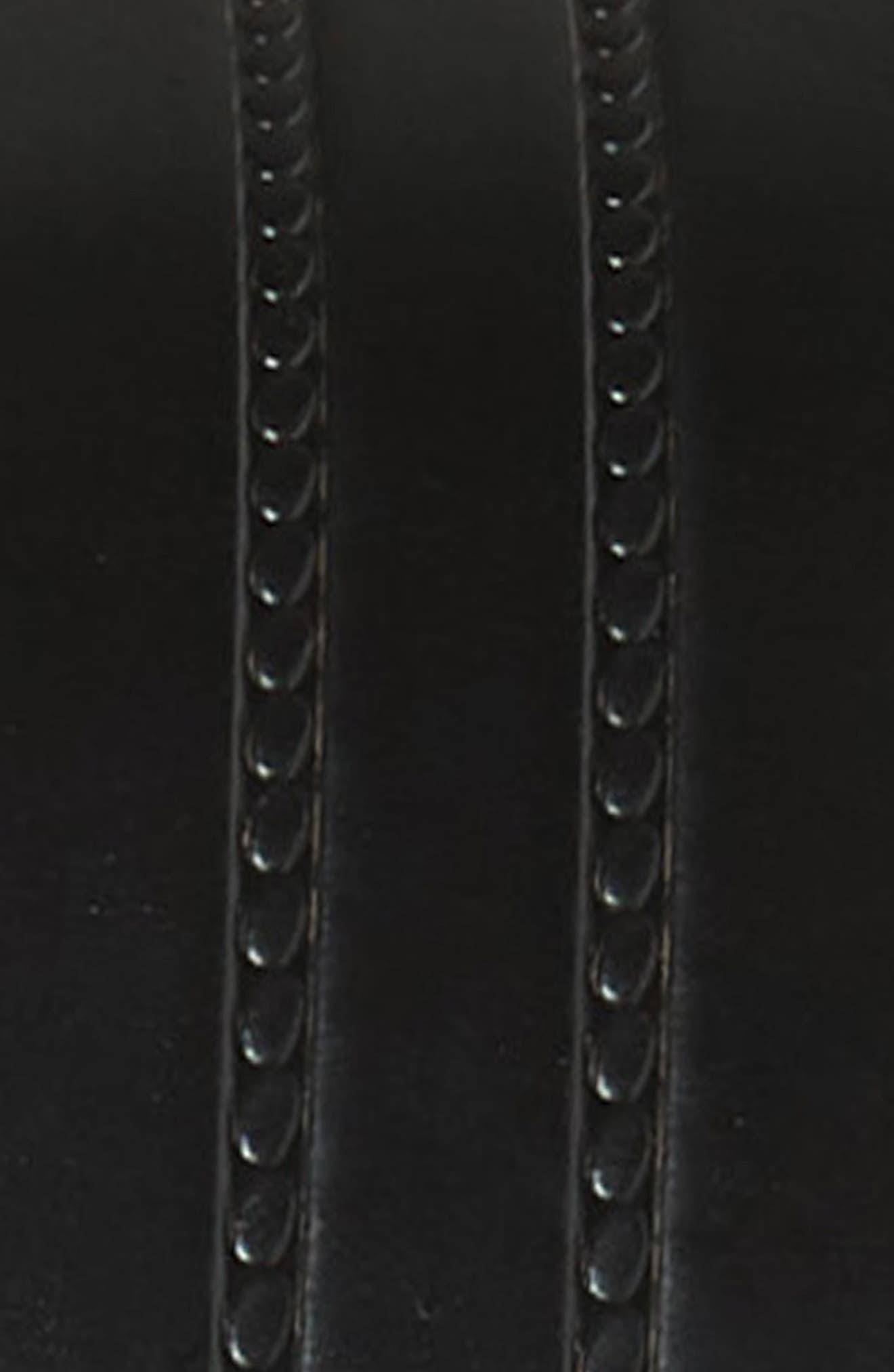 Rounded Plaque Leather Belt,                             Alternate thumbnail 3, color,                             BLACK
