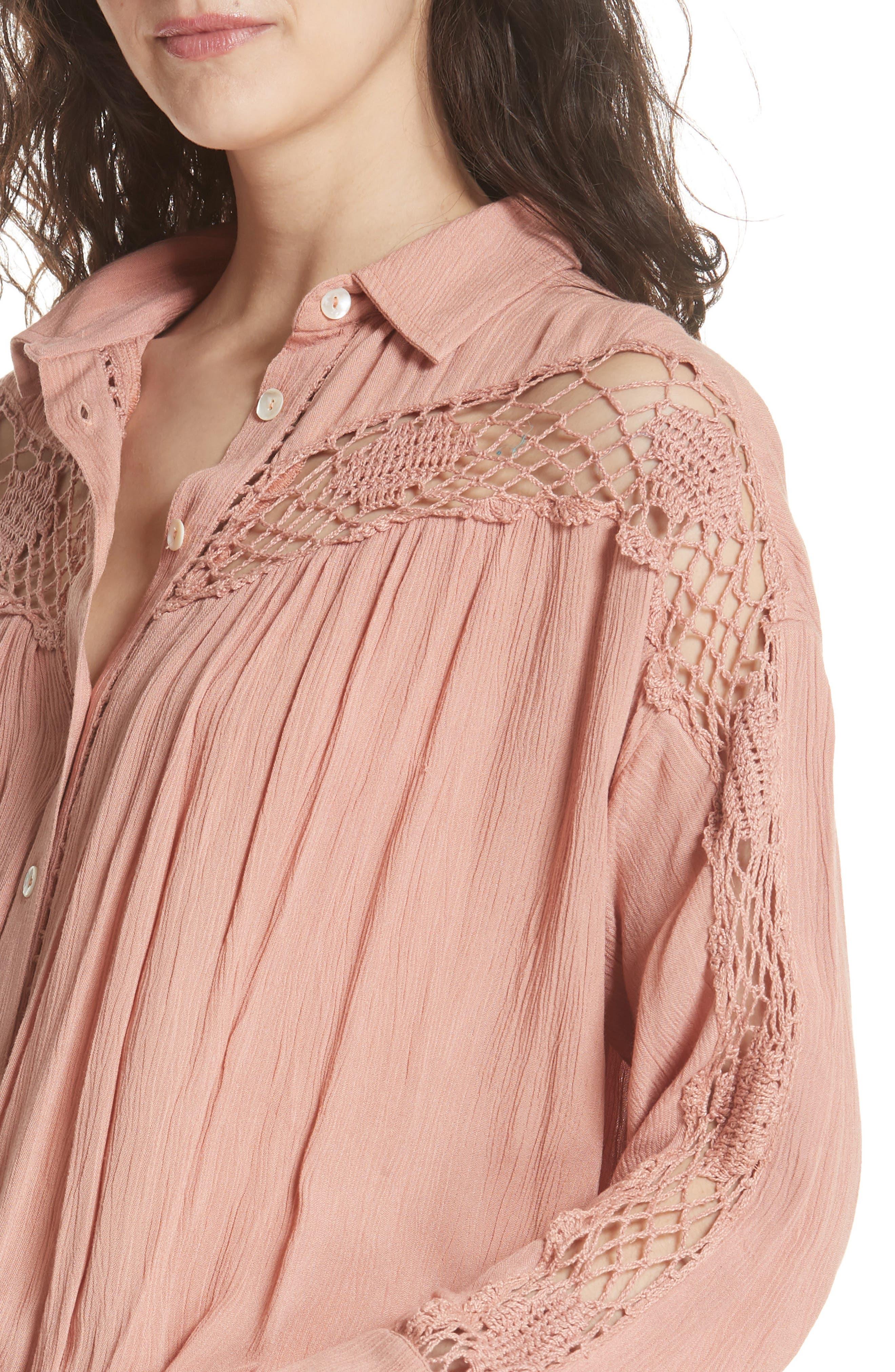 Katie Bird Crochet Inset Shirt,                             Alternate thumbnail 16, color,