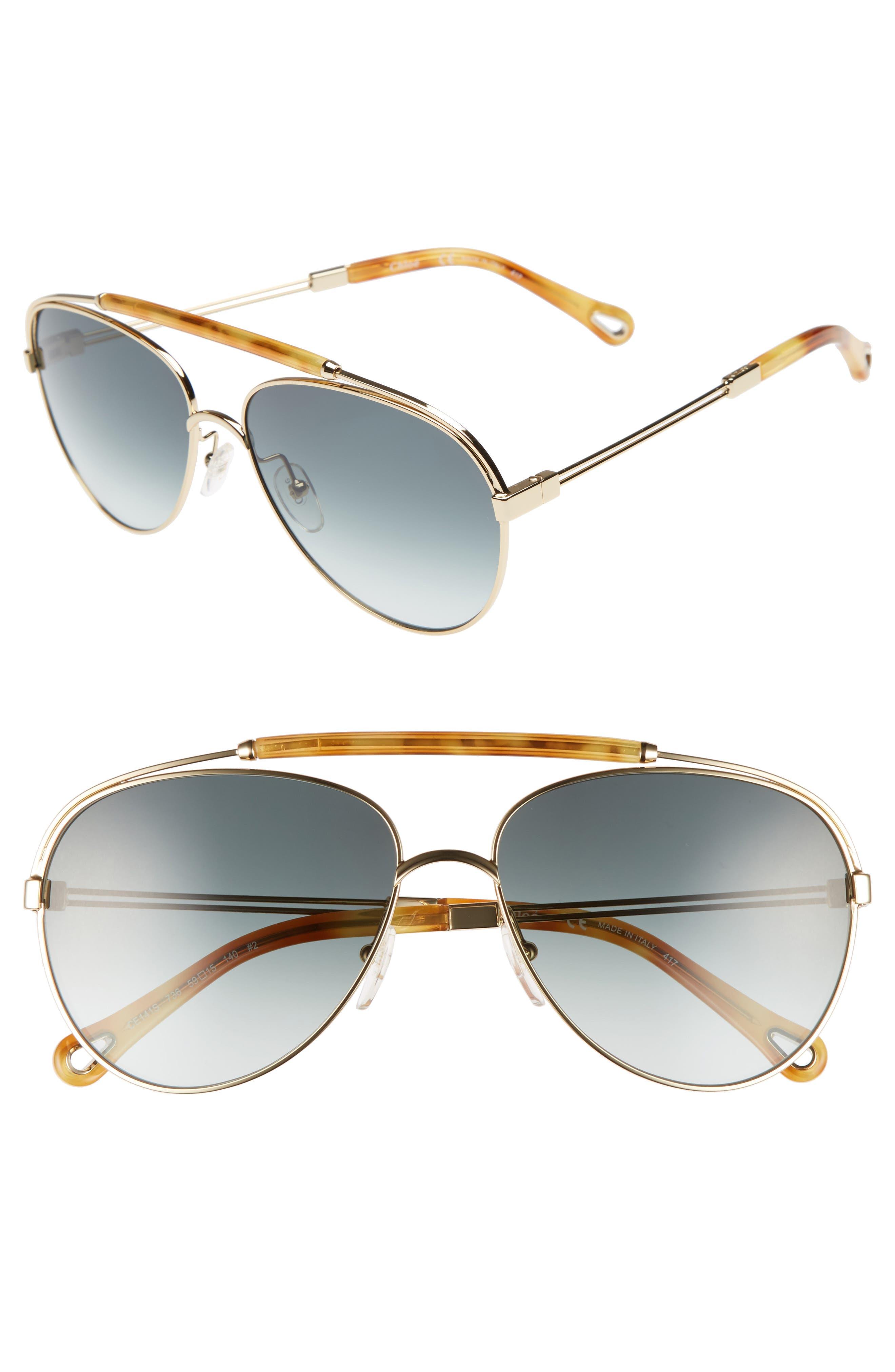 Jackie 59mm Aviator Sunglasses,                             Main thumbnail 1, color,                             GOLD/ BLONDE HAVANA