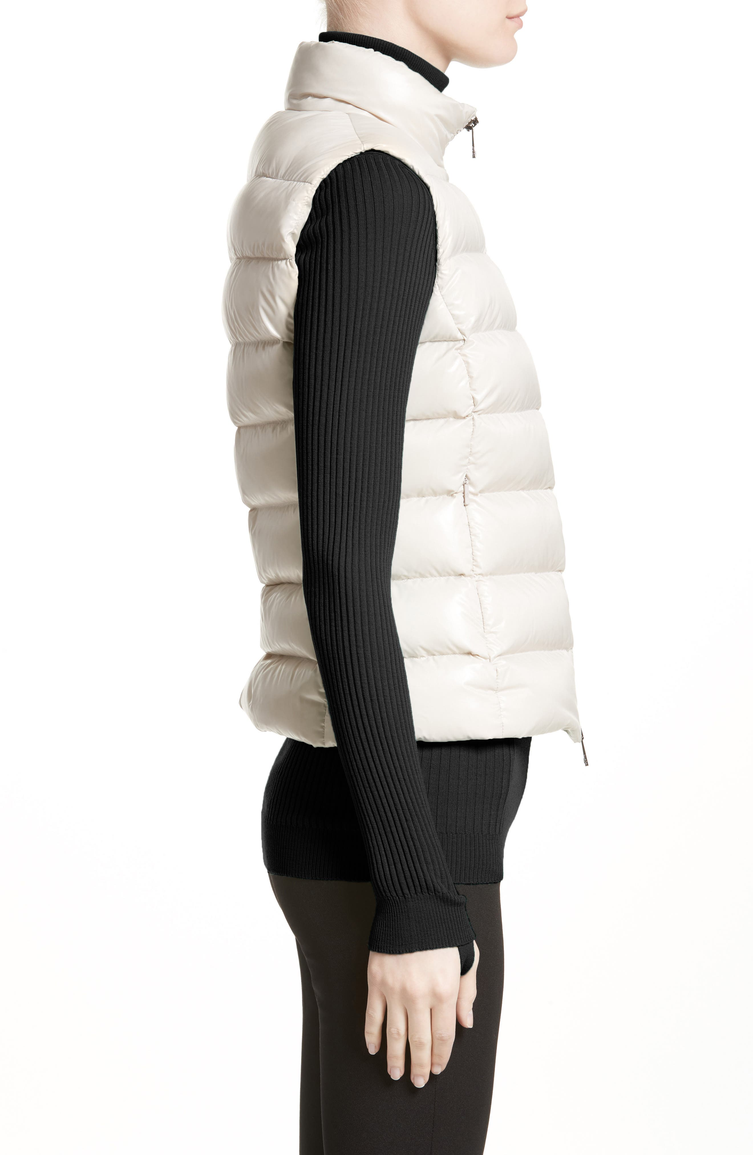 Ghany Water Resistant Shiny Nylon Down Puffer Vest,                             Alternate thumbnail 3, color,                             BEIGE