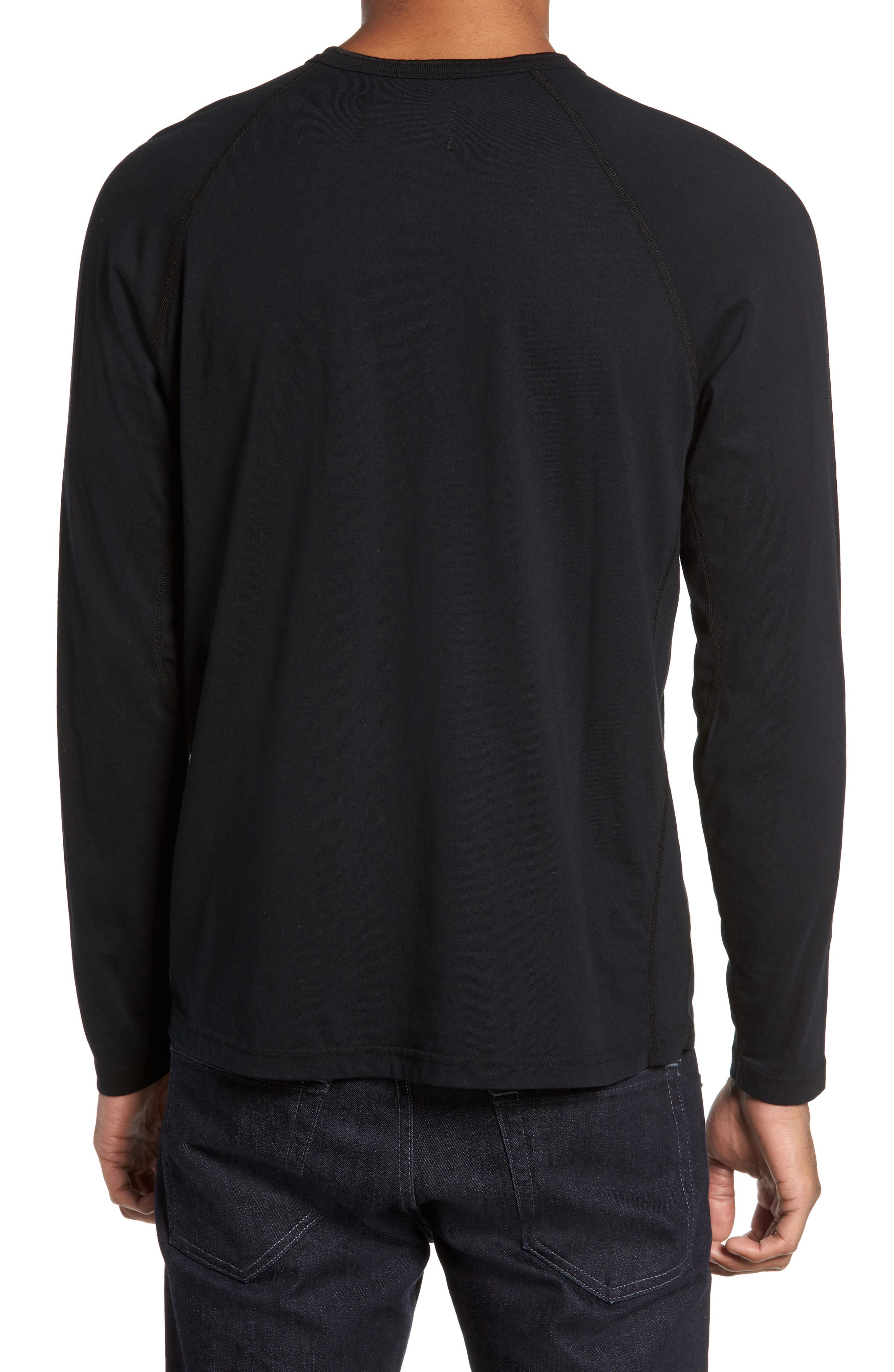 Long Sleeve Henley T-Shirt,                             Alternate thumbnail 2, color,                             BLACK