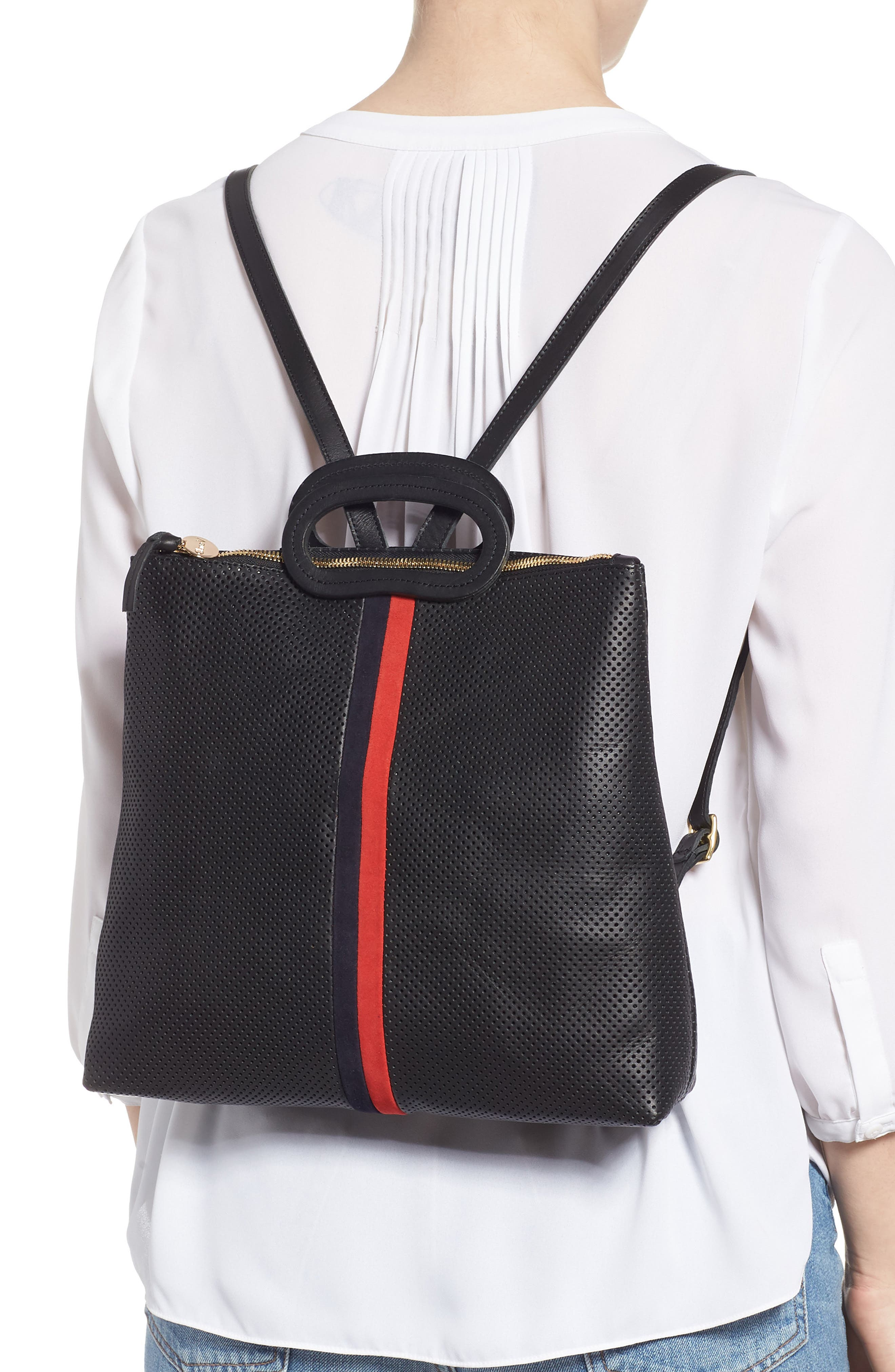 Marcelle Perforated Leather Backpack,                             Alternate thumbnail 2, color,                             BLACK PERF WITH NAVY/ RED