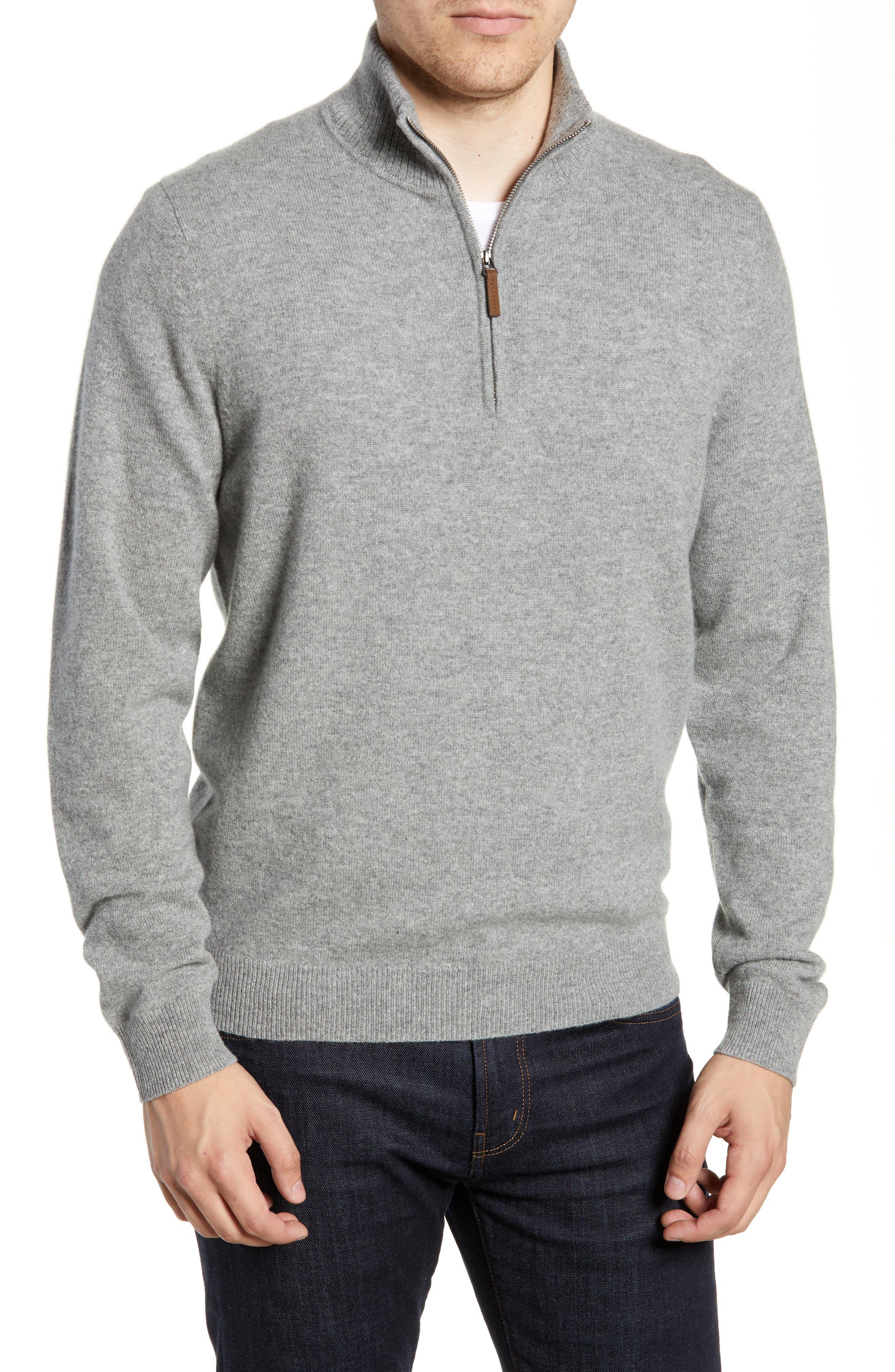 Regular Fit Cashmere Quarter Zip Pullover,                             Main thumbnail 1, color,                             GREY DRIFTWOOD