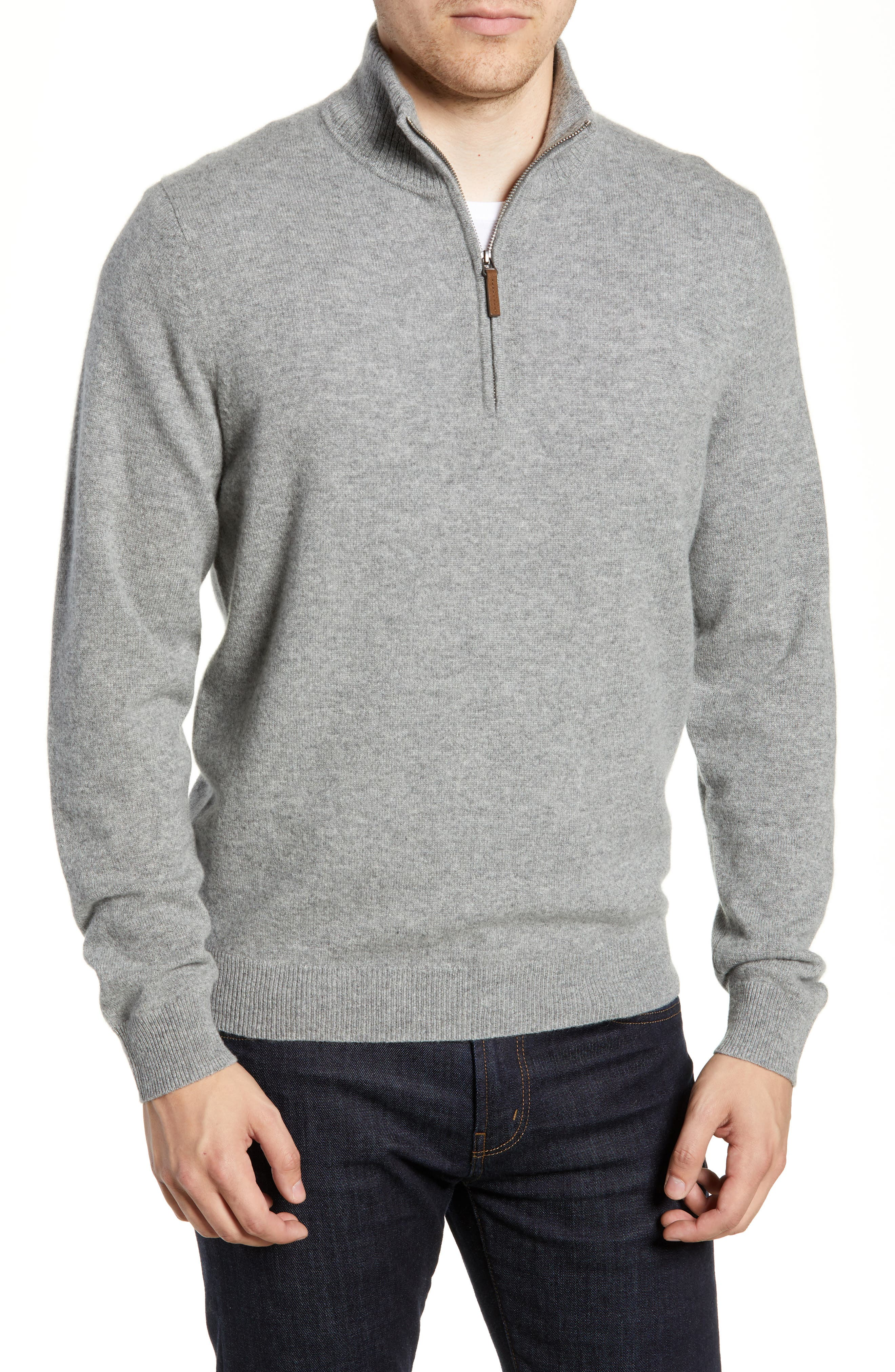 Regular Fit Cashmere Quarter Zip Pullover,                         Main,                         color, GREY DRIFTWOOD