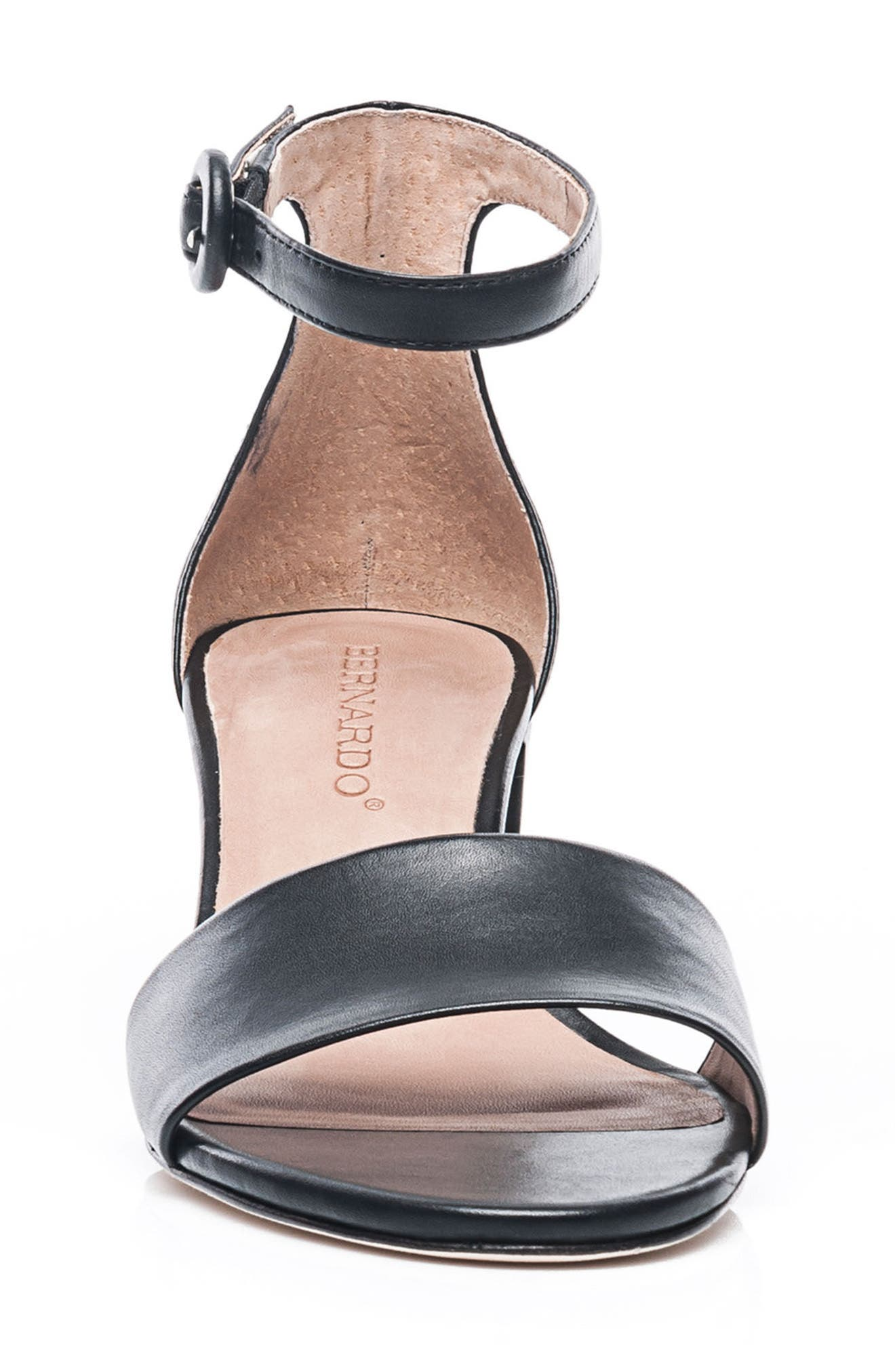 Bernardo Belinda Ankle Strap Sandal,                             Alternate thumbnail 4, color,                             BLACK LEATHER