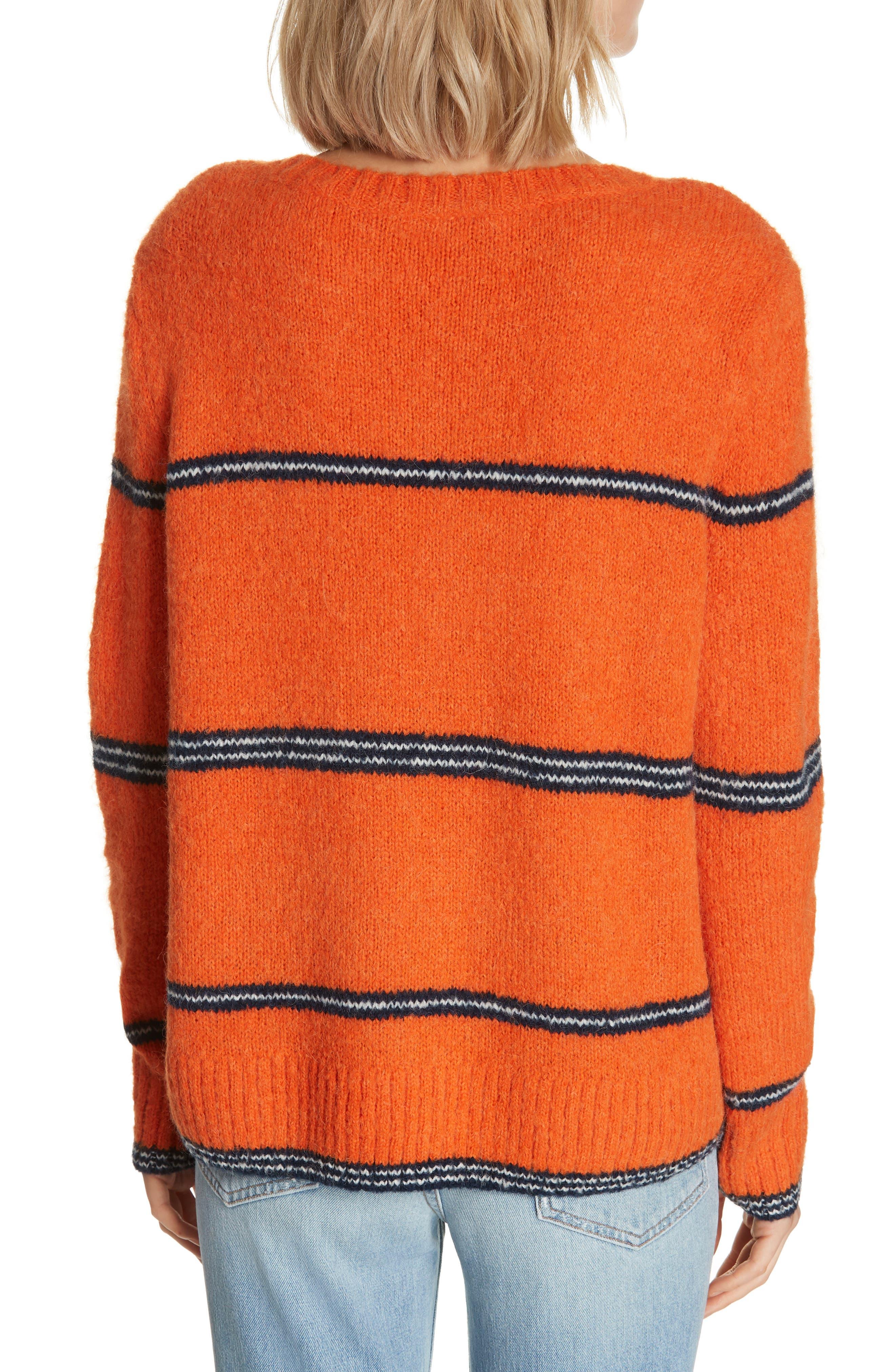 FRAME,                             Stripe Sweater,                             Alternate thumbnail 2, color,                             PERSIMMON MULTI