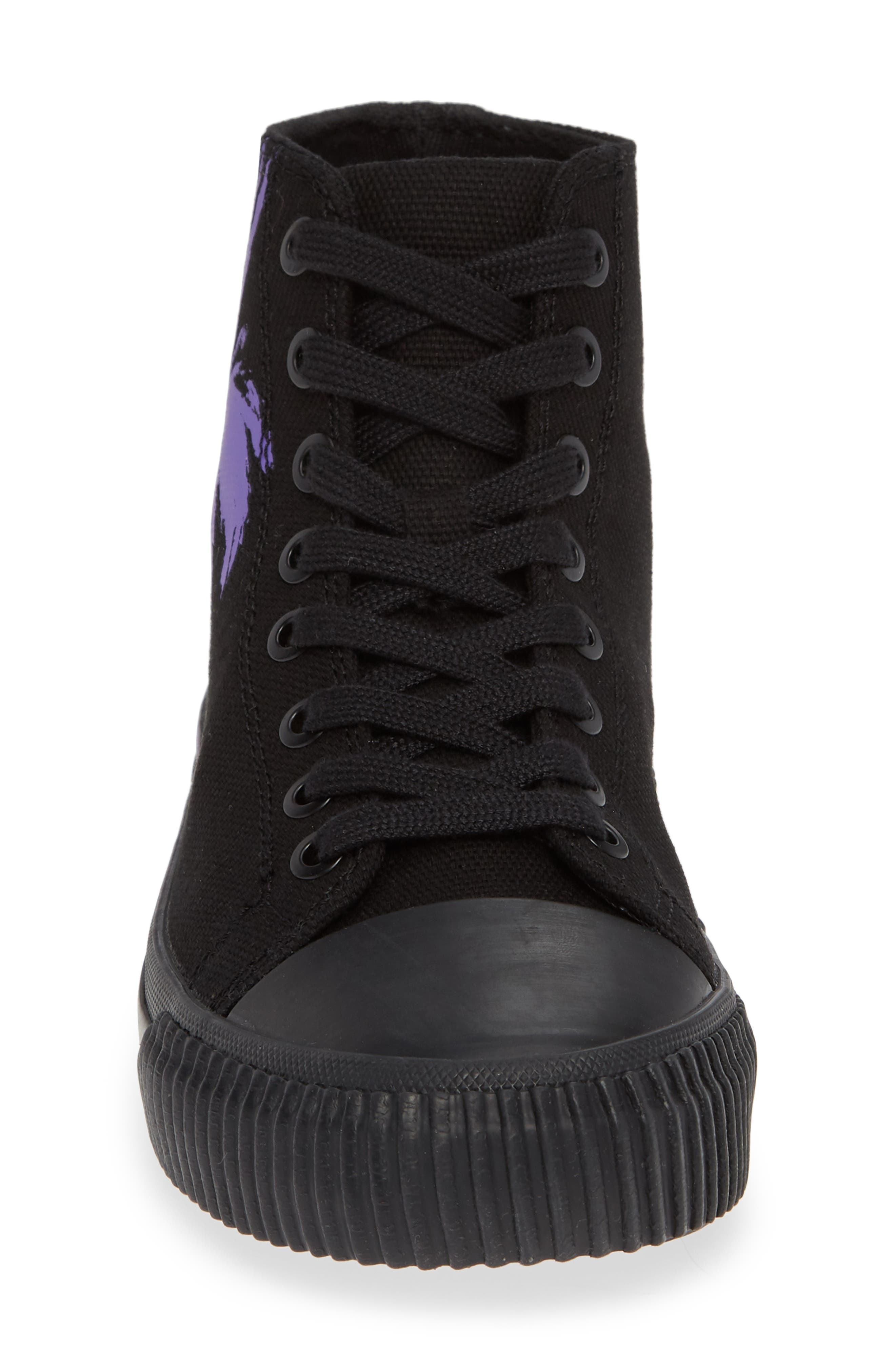 Iconica High Top Sneaker,                             Alternate thumbnail 4, color,                             BLACK/ PURPLE