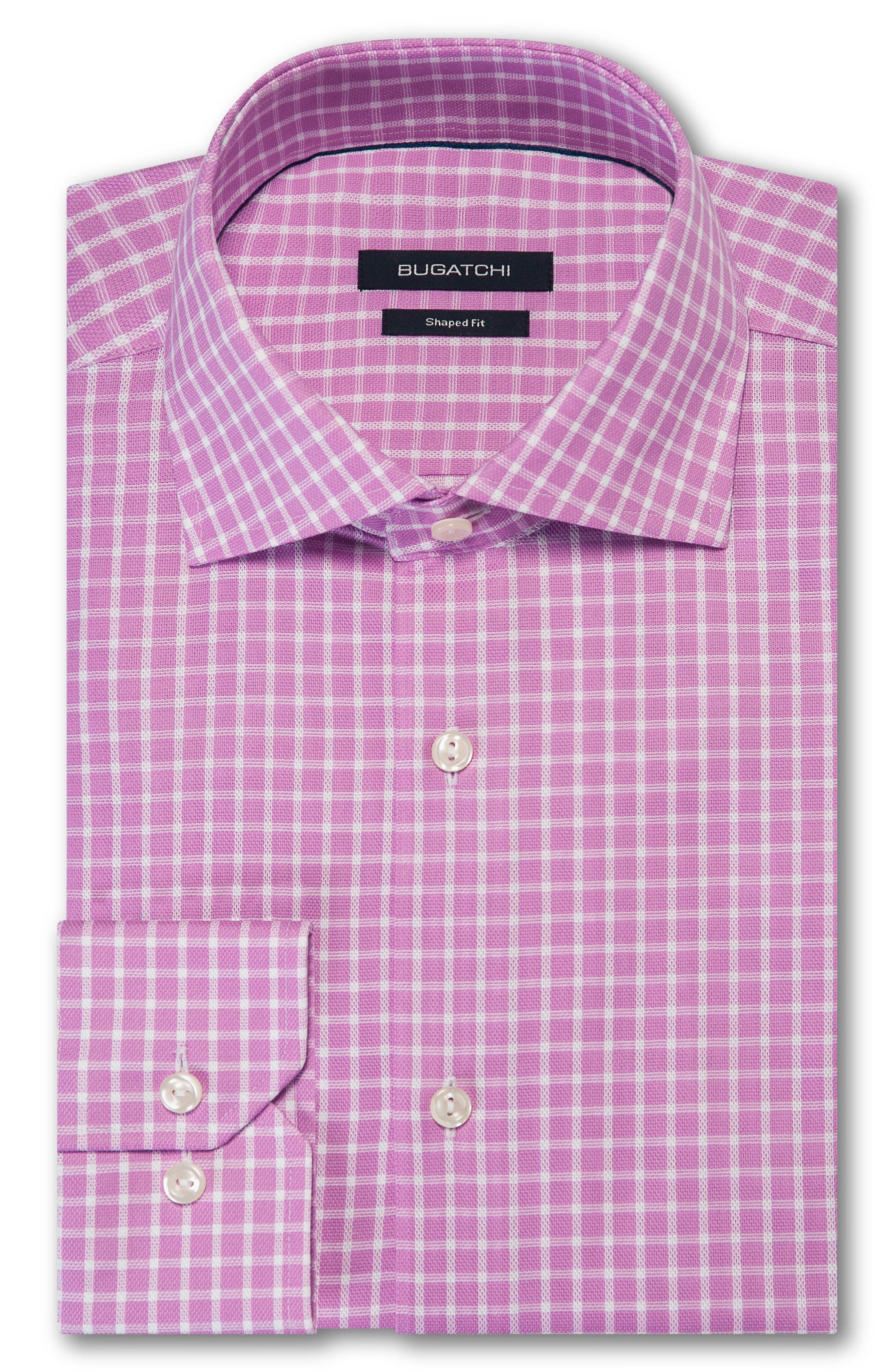 men's big & tall bugatchi trim fit check dress shirt, size 18 - pink