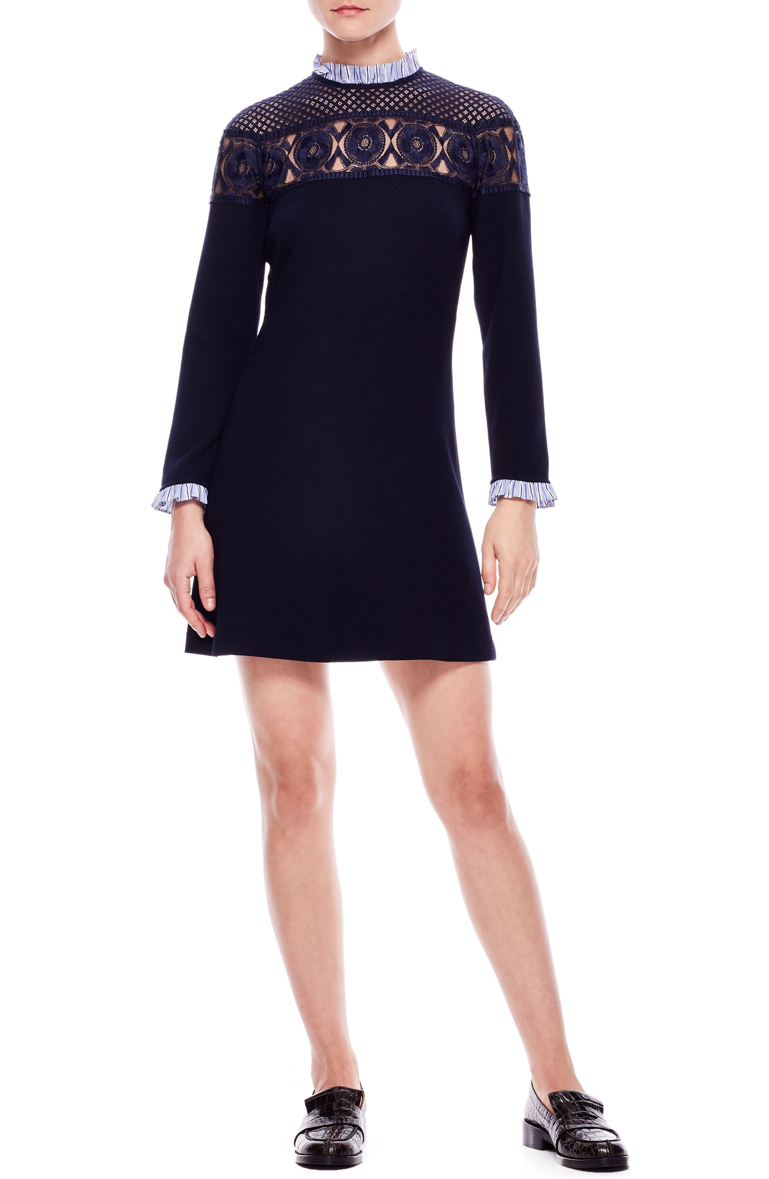 Lace Yoke A-Line Dress,                             Main thumbnail 1, color,                             DEEP NAVY