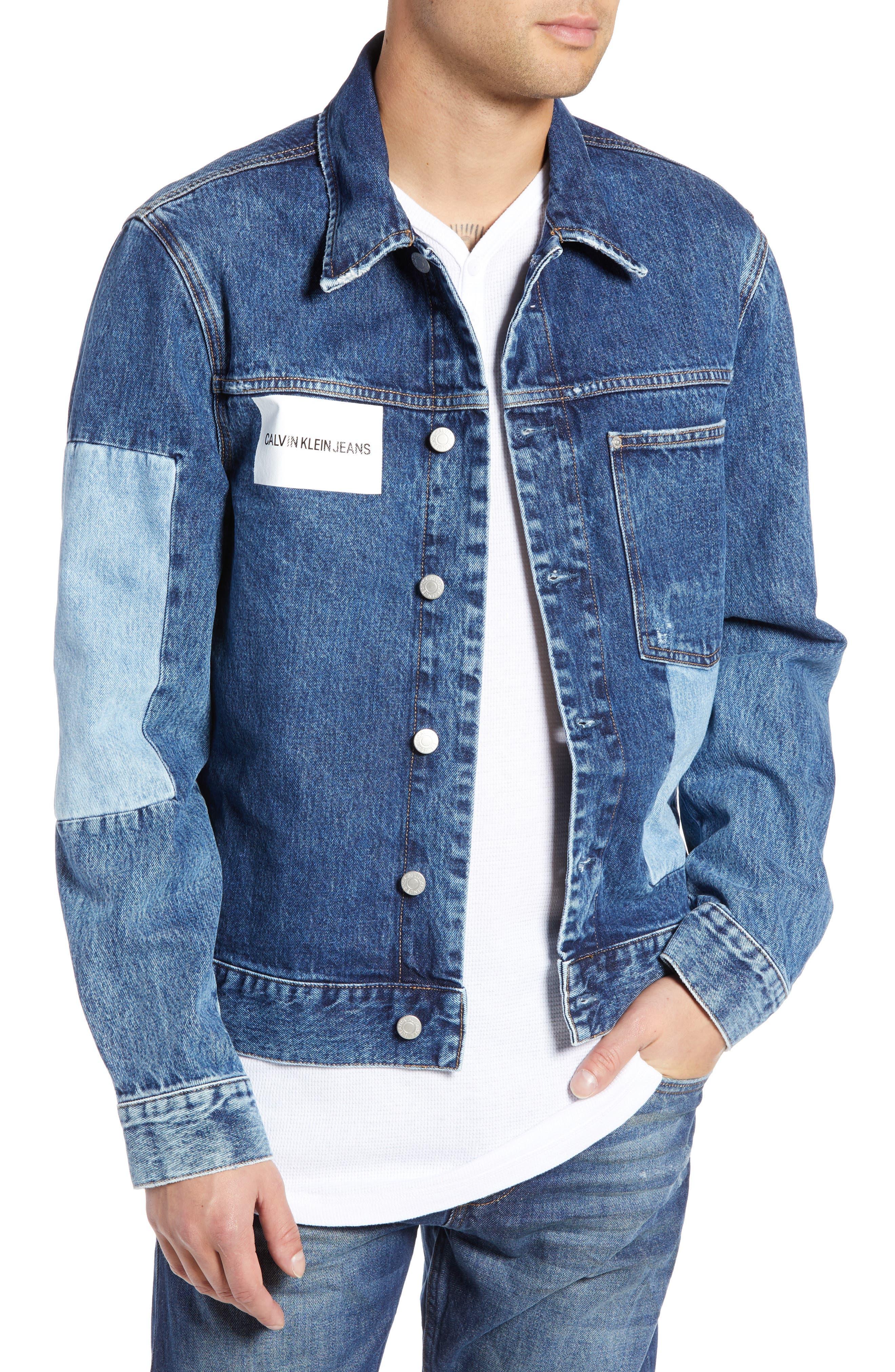 CALVIN KLEIN JEANS,                             Patch One-Pocket Denim Jacket,                             Main thumbnail 1, color,                             400