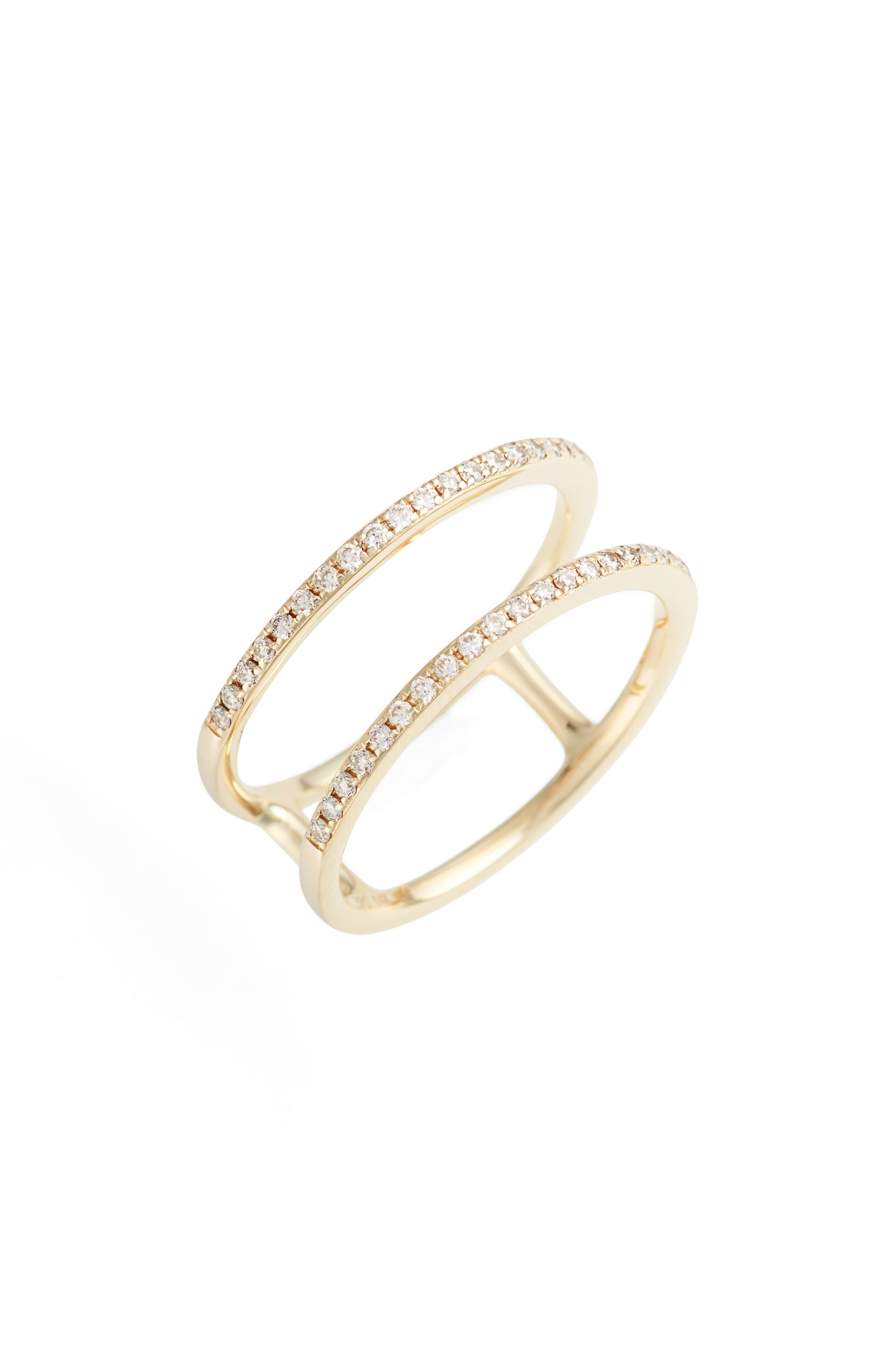 Double Row Diamond Ring,                         Main,                         color, YELLOW GOLD