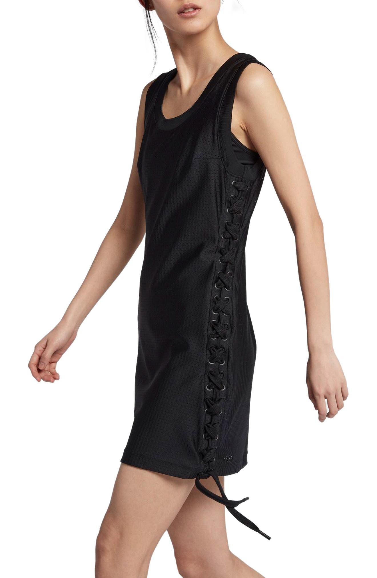 NikeLab x RT Jersey & Mesh Dress,                             Alternate thumbnail 3, color,                             010